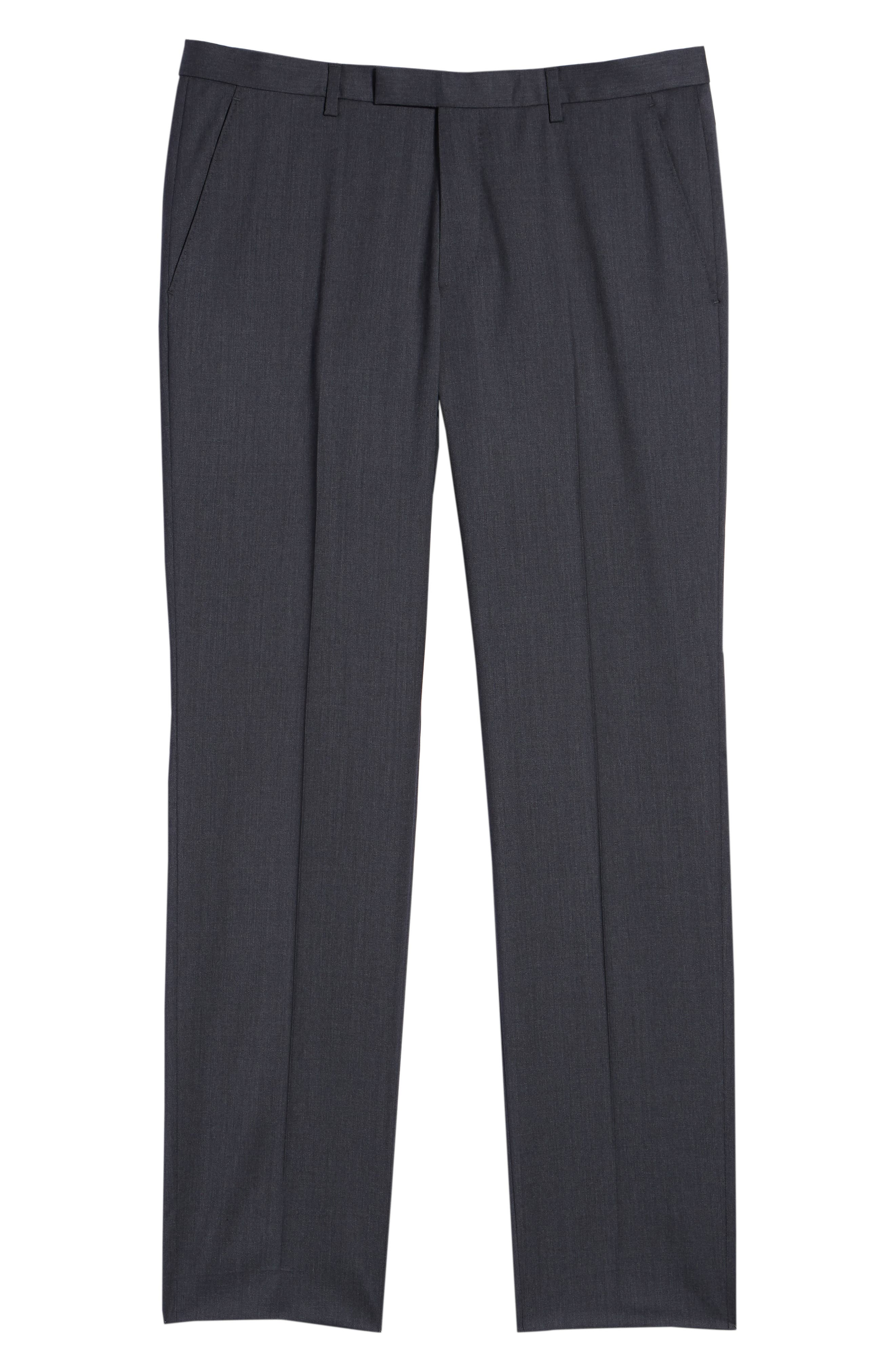 Leenon Flat Front Regular Fit Solid Wool Trousers,                             Alternate thumbnail 6, color,                             CHARCOAL