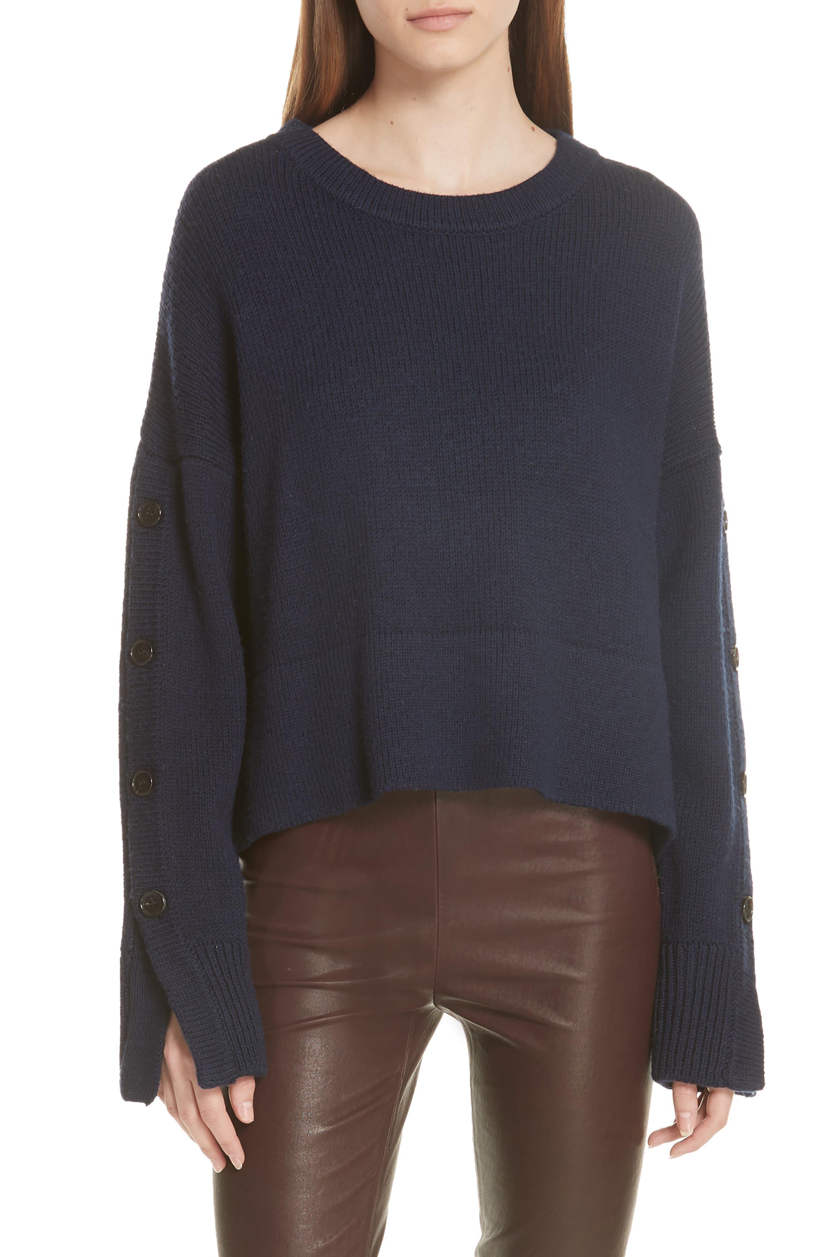 GREY JASON WU Aquila Button Sleeve Merino Wool Sweater in Dark Pine