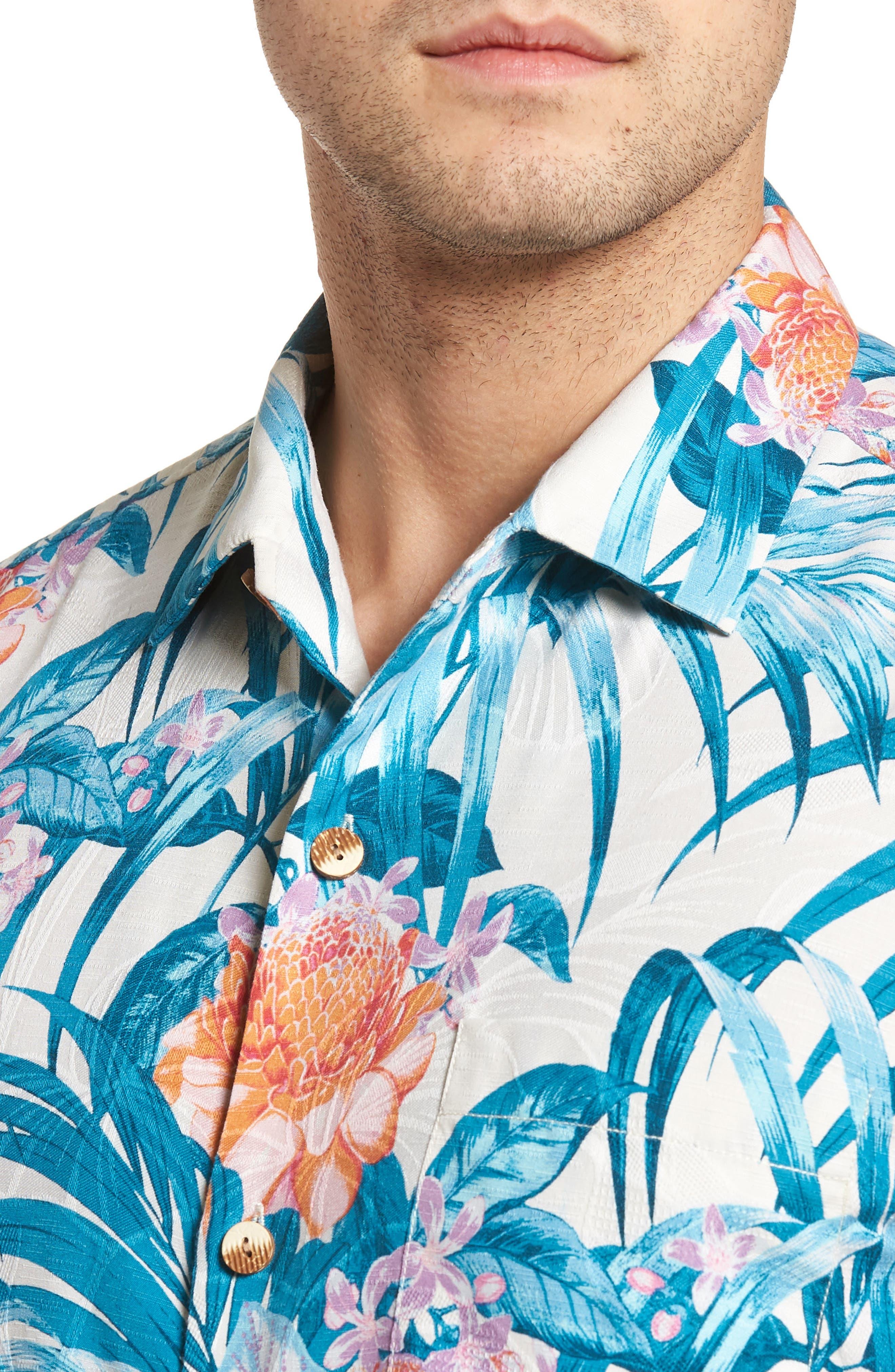 Garden of Hope and Courage Regular Fit Silk Blend Camp Shirt,                             Alternate thumbnail 4, color,                             100