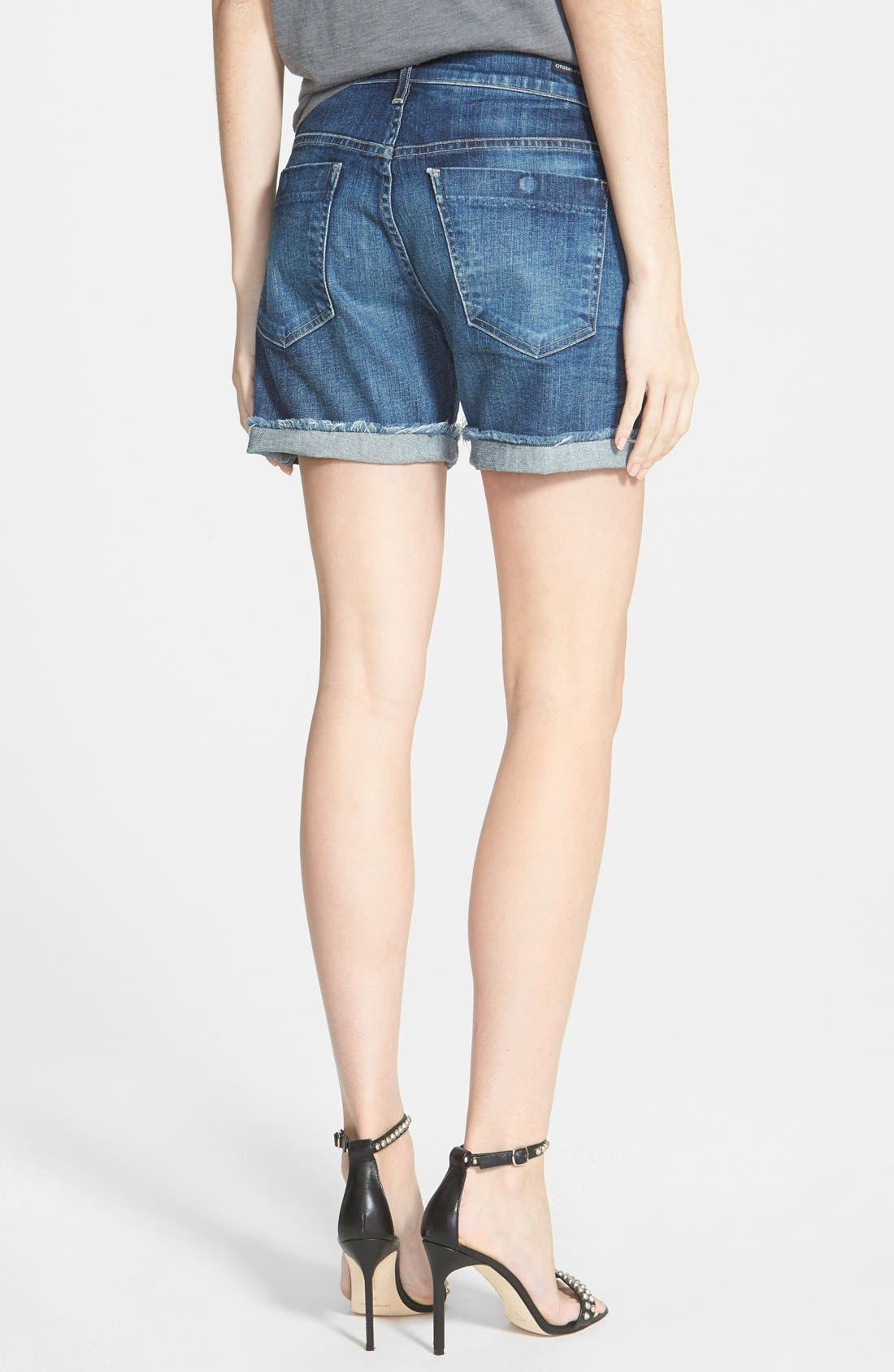 'Skyler' Low Rise Denim Shorts,                             Alternate thumbnail 3, color,