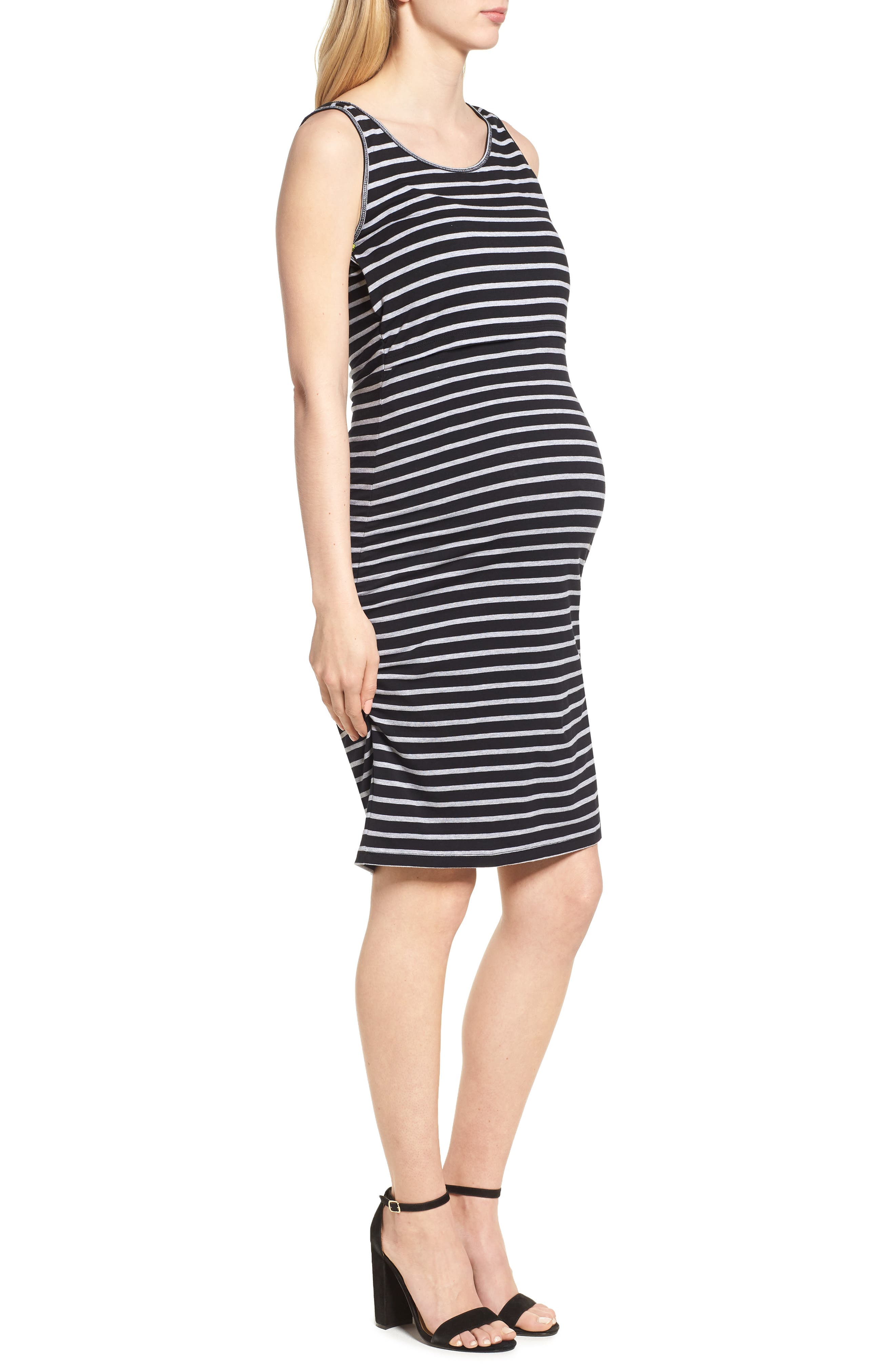 MODERN ETERNITY,                             Maternity/Nursing Tank Dress,                             Alternate thumbnail 3, color,                             BLACK/ GREY