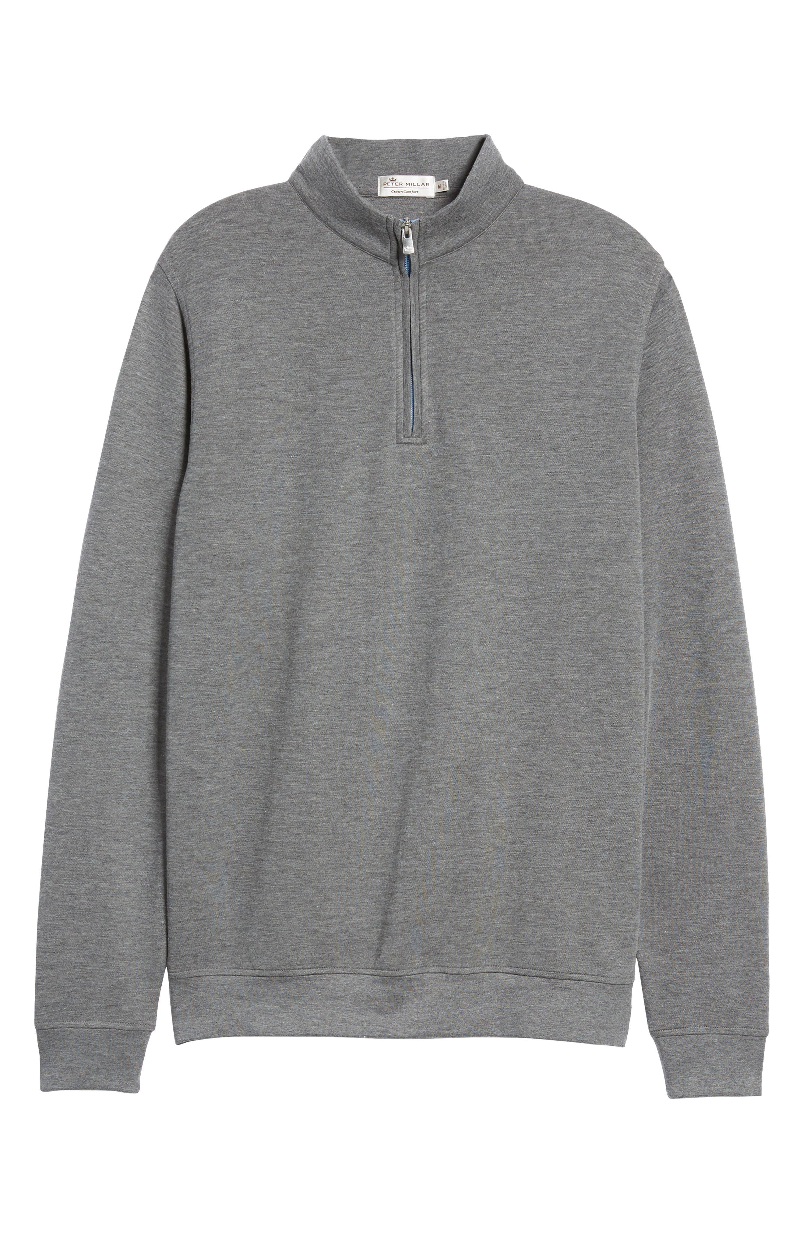 Crown Comfort Jersey Quarter Zip Pullover,                             Alternate thumbnail 6, color,                             CHARCOAL