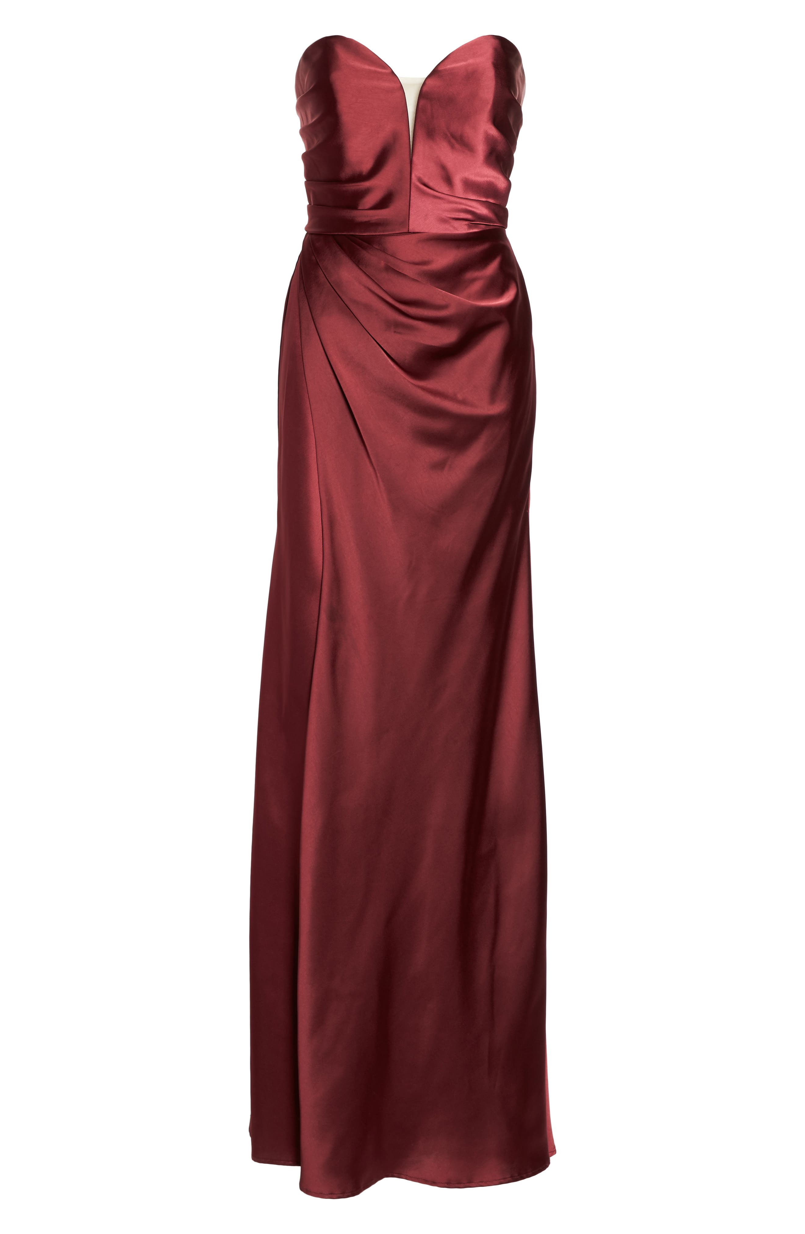 Gathered Strapless Satin Gown,                             Alternate thumbnail 6, color,                             602