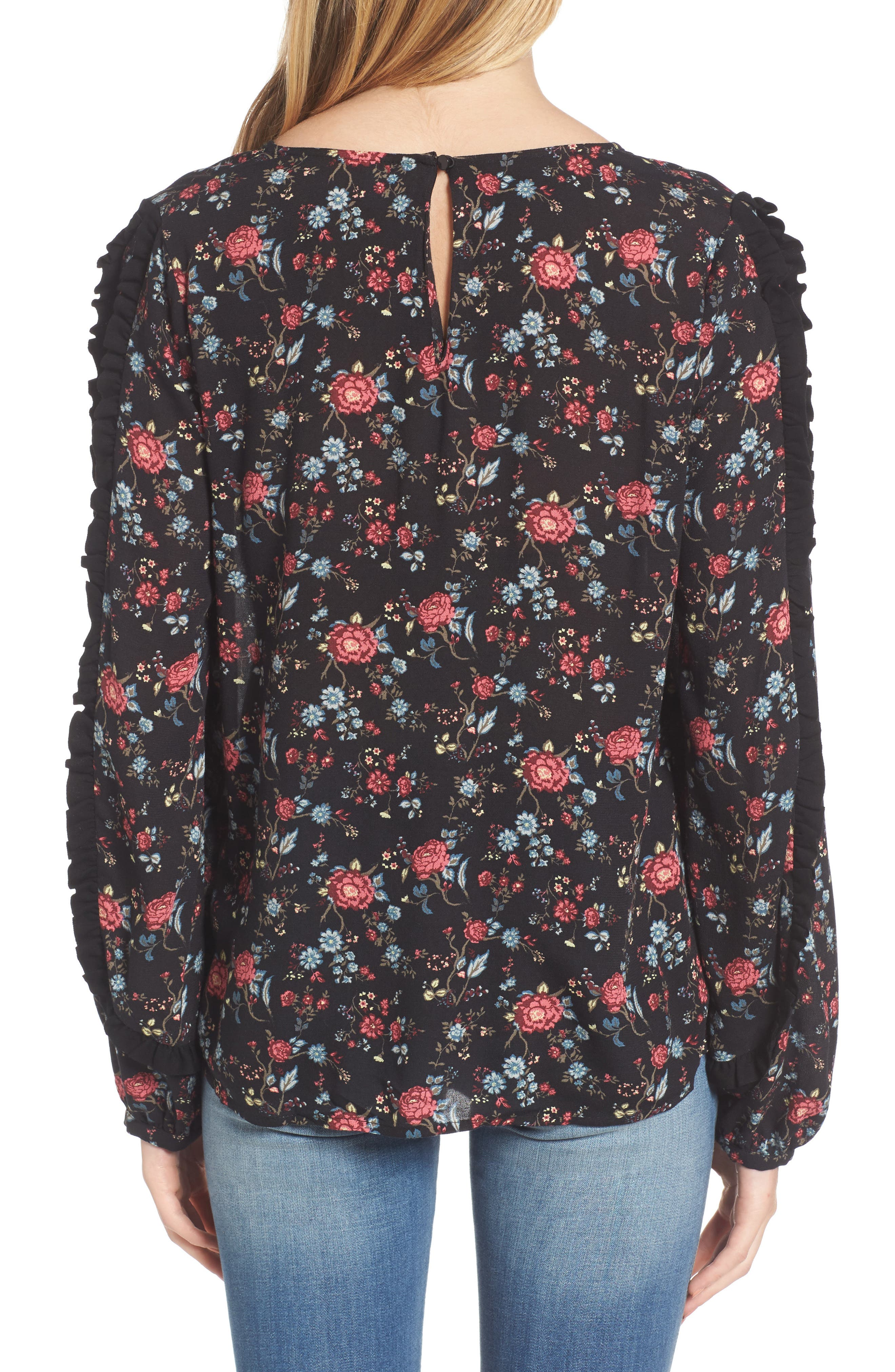 Ruffle Trim Floral Print Top,                             Alternate thumbnail 2, color,                             001