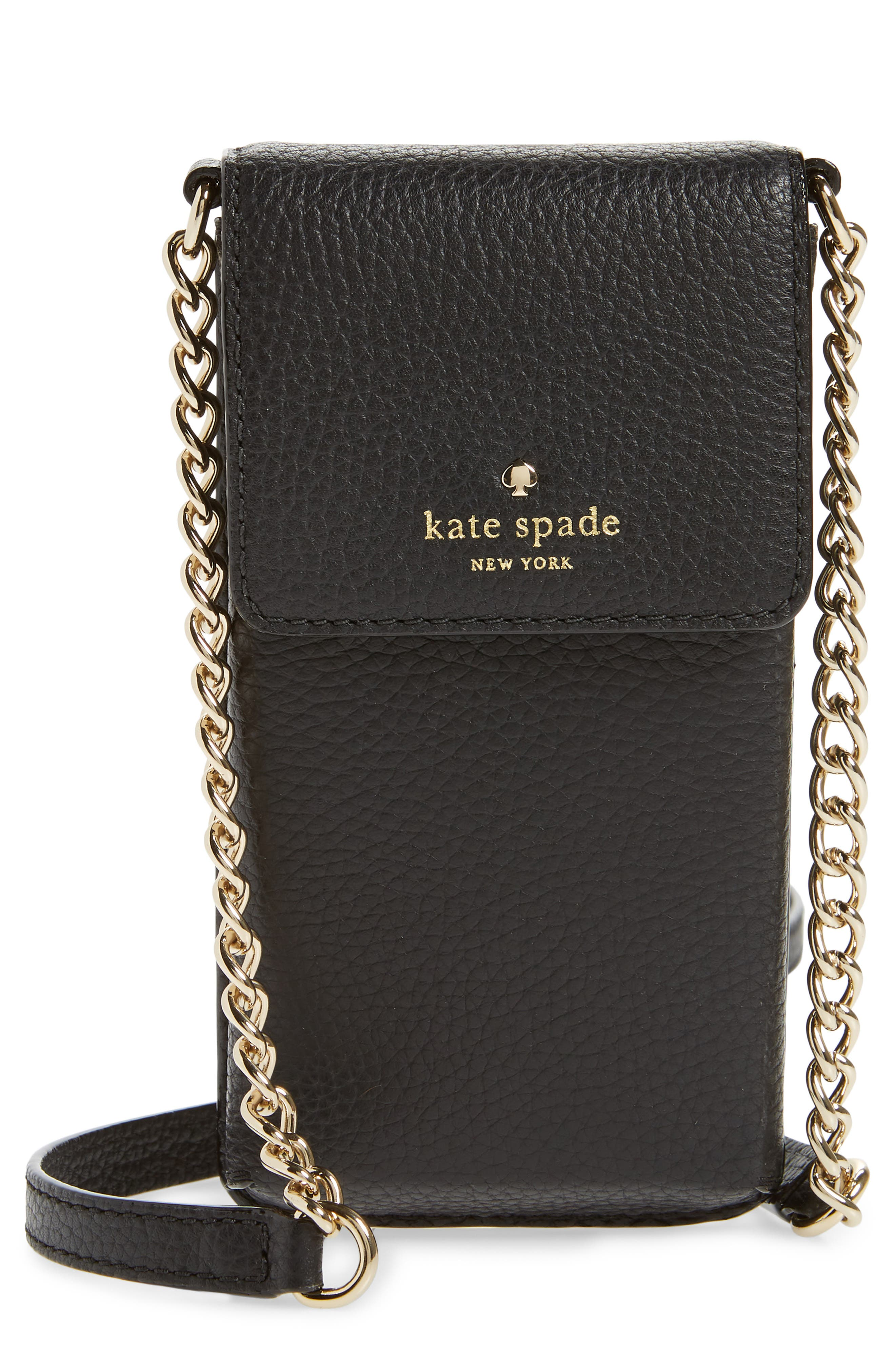 KATE SPADE NEW YORK north/south leather smartphone crossbody bag, Main, color, 001