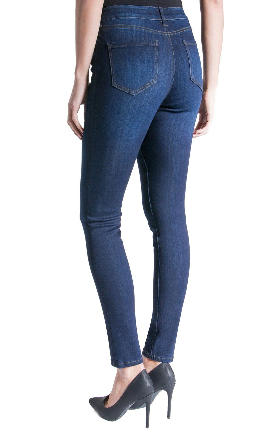 Abby Mid Rise Soft Stretch Skinny Jeans,                             Alternate thumbnail 6, color,                             DOHENY DARK