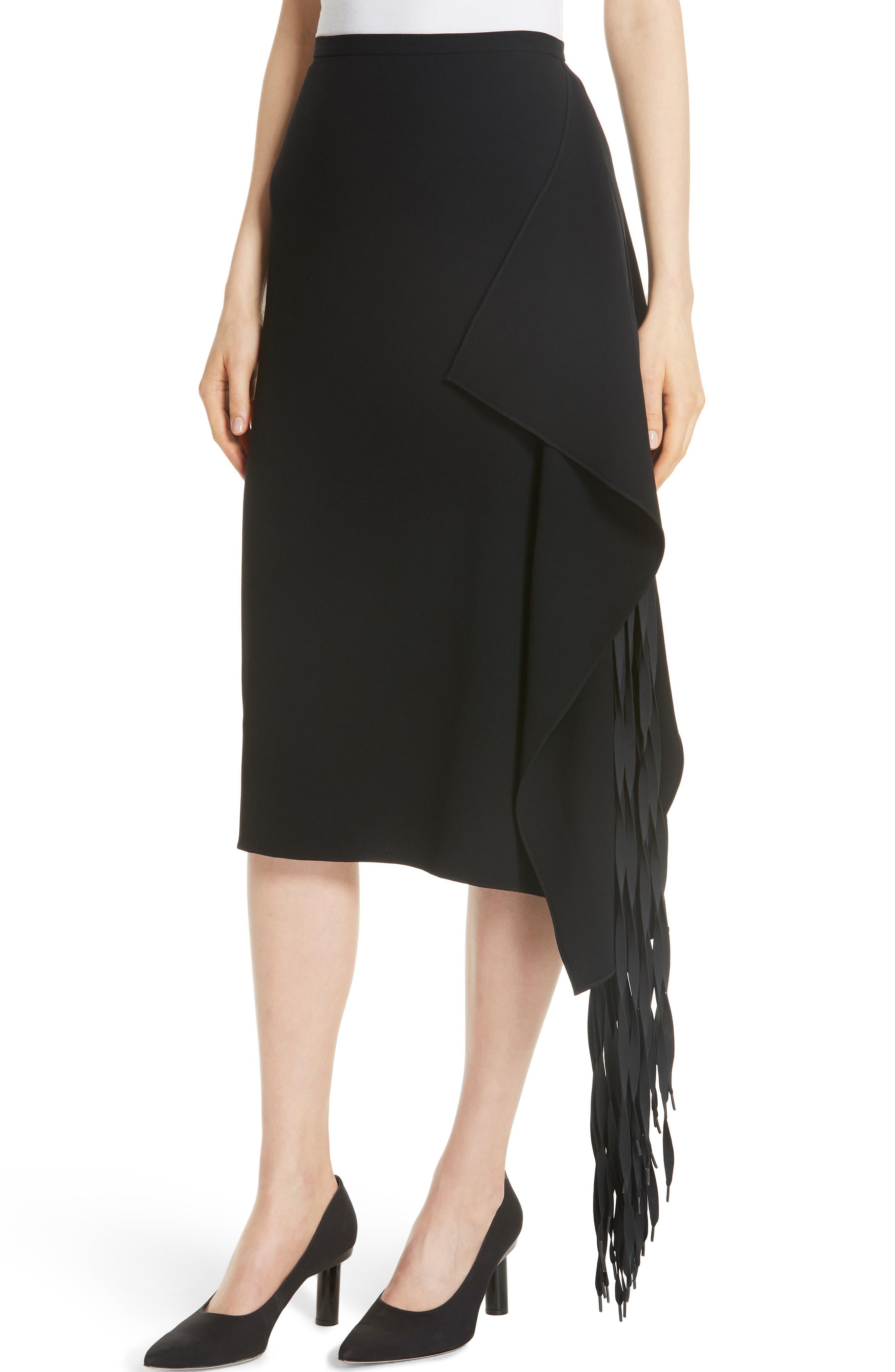 TIBI,                             Shoelace Fringe Skirt,                             Alternate thumbnail 4, color,                             BLACK