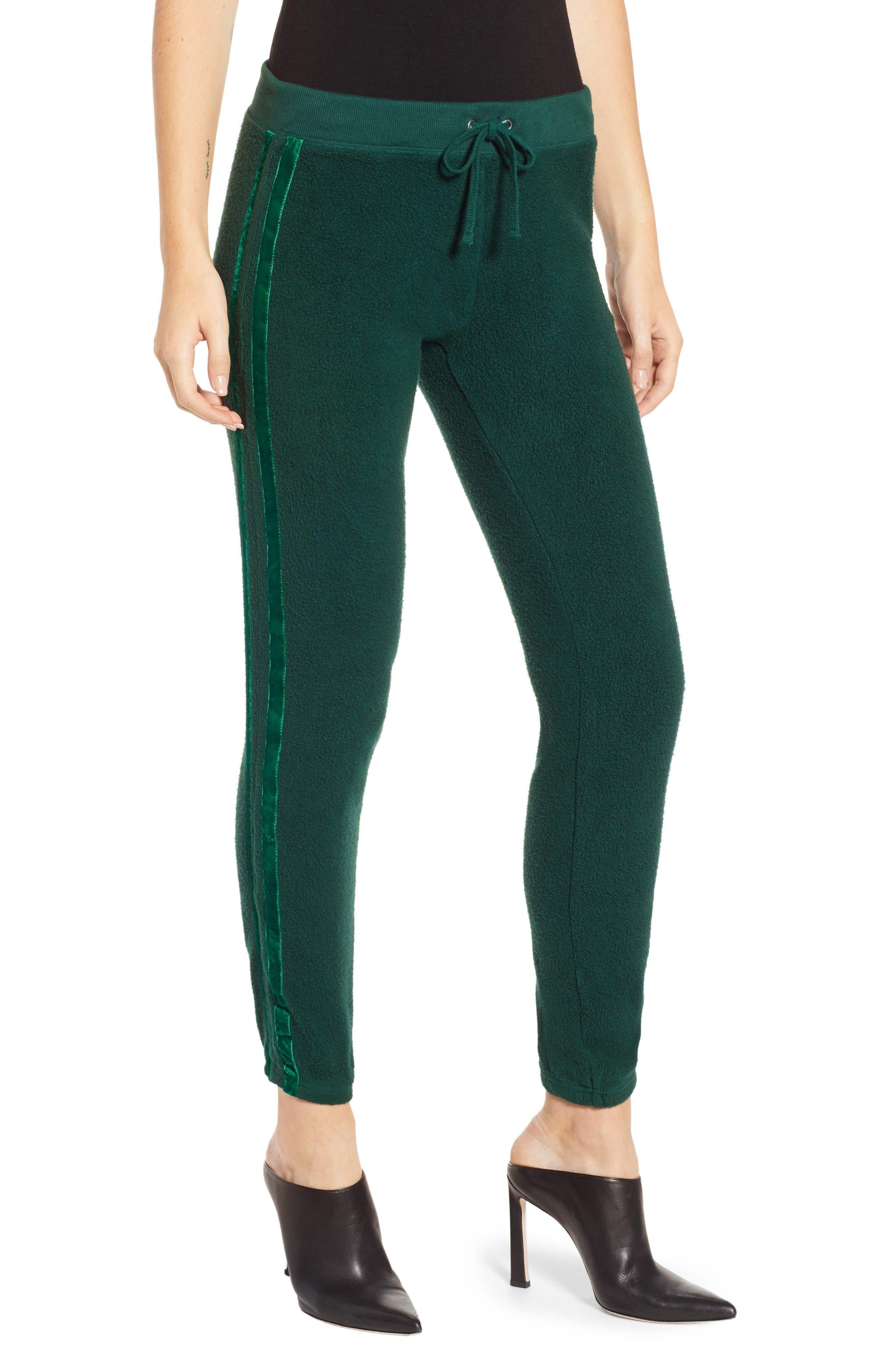 Velvet Stripe Sweatpants,                         Main,                         color, BOTANICAL GREEN