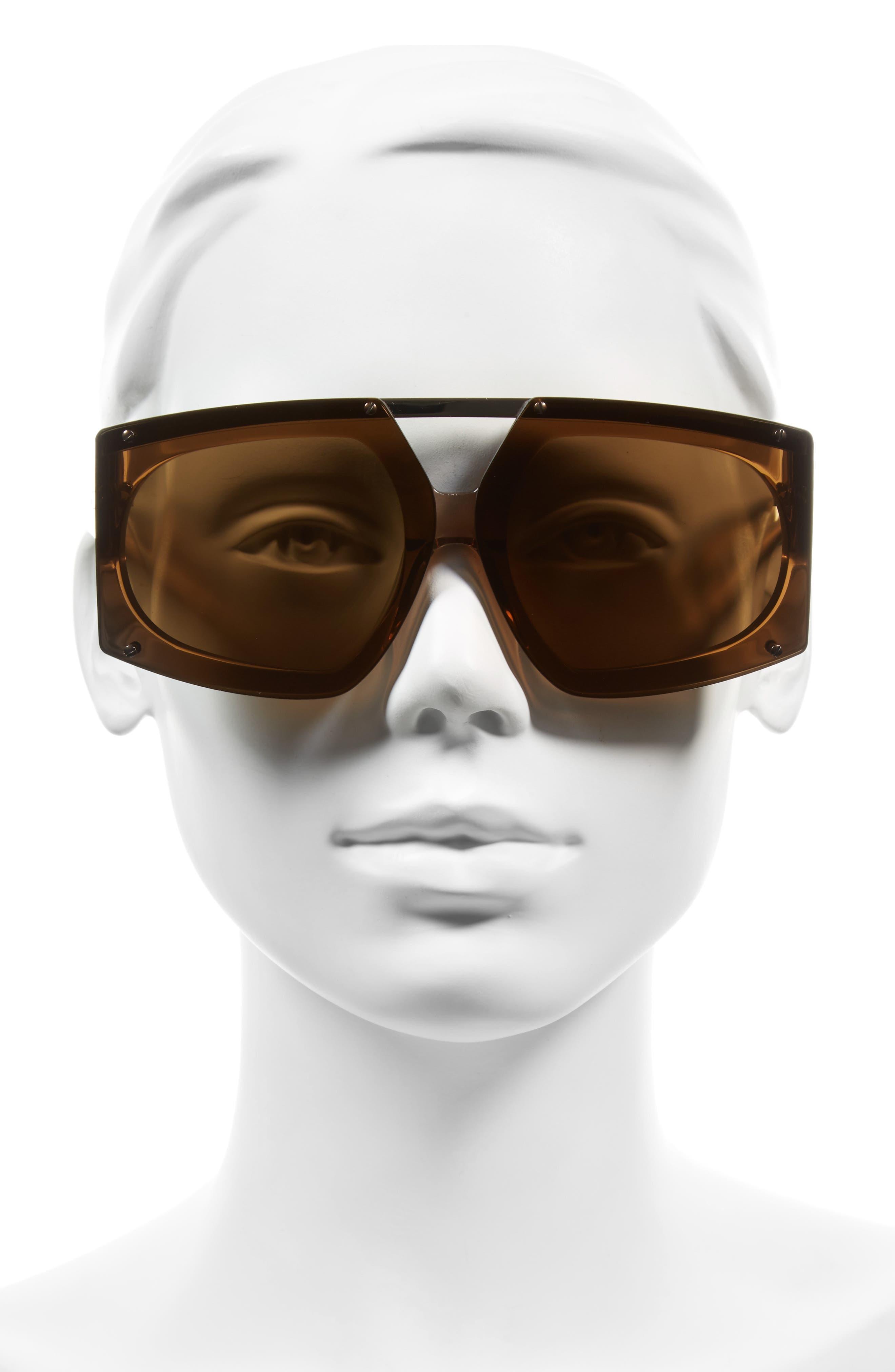 70mm Mirrored Oversized Sunglasses,                             Alternate thumbnail 5, color,