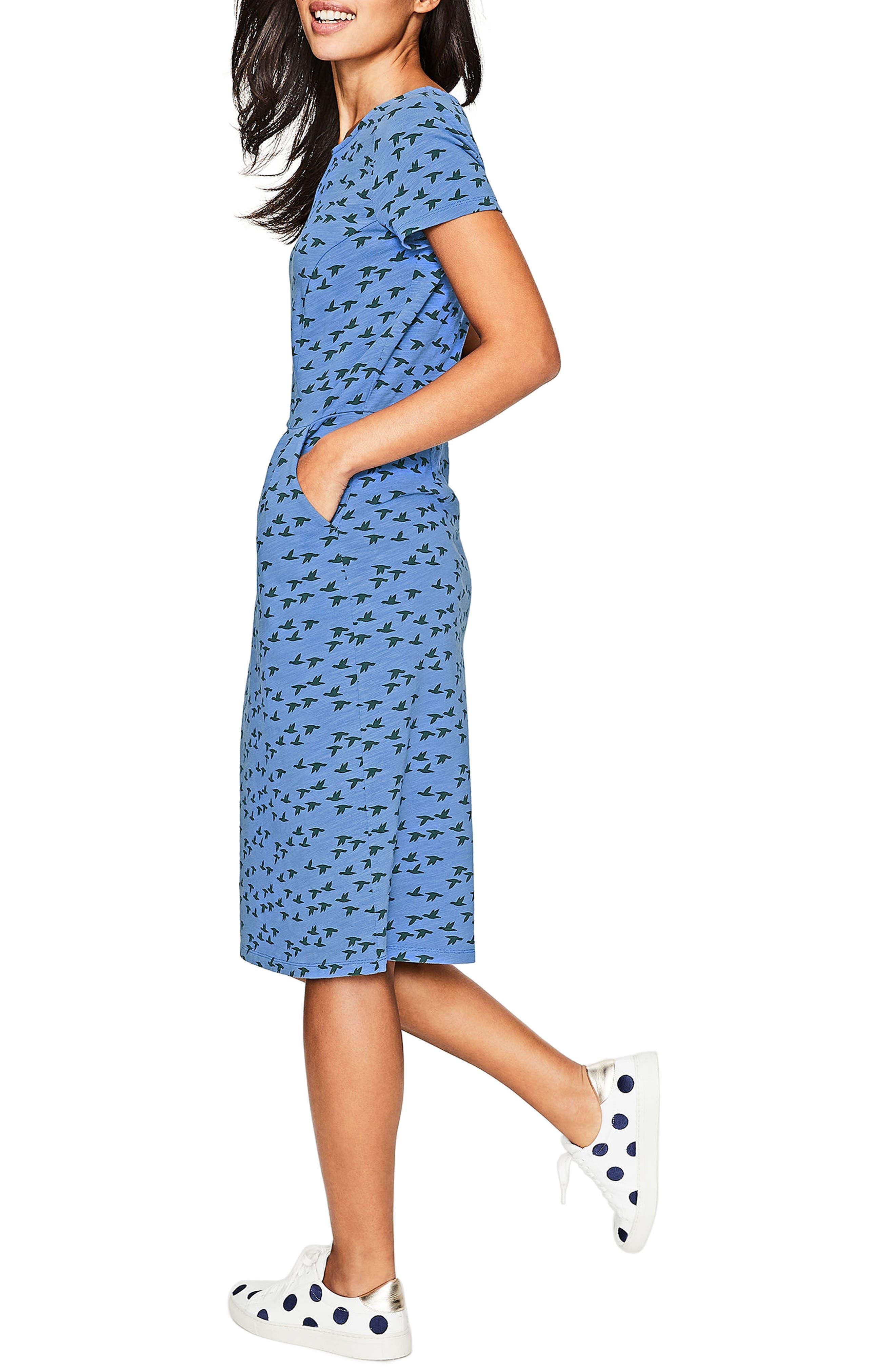Phoebe Bird Print Jersey Dress,                             Alternate thumbnail 6, color,