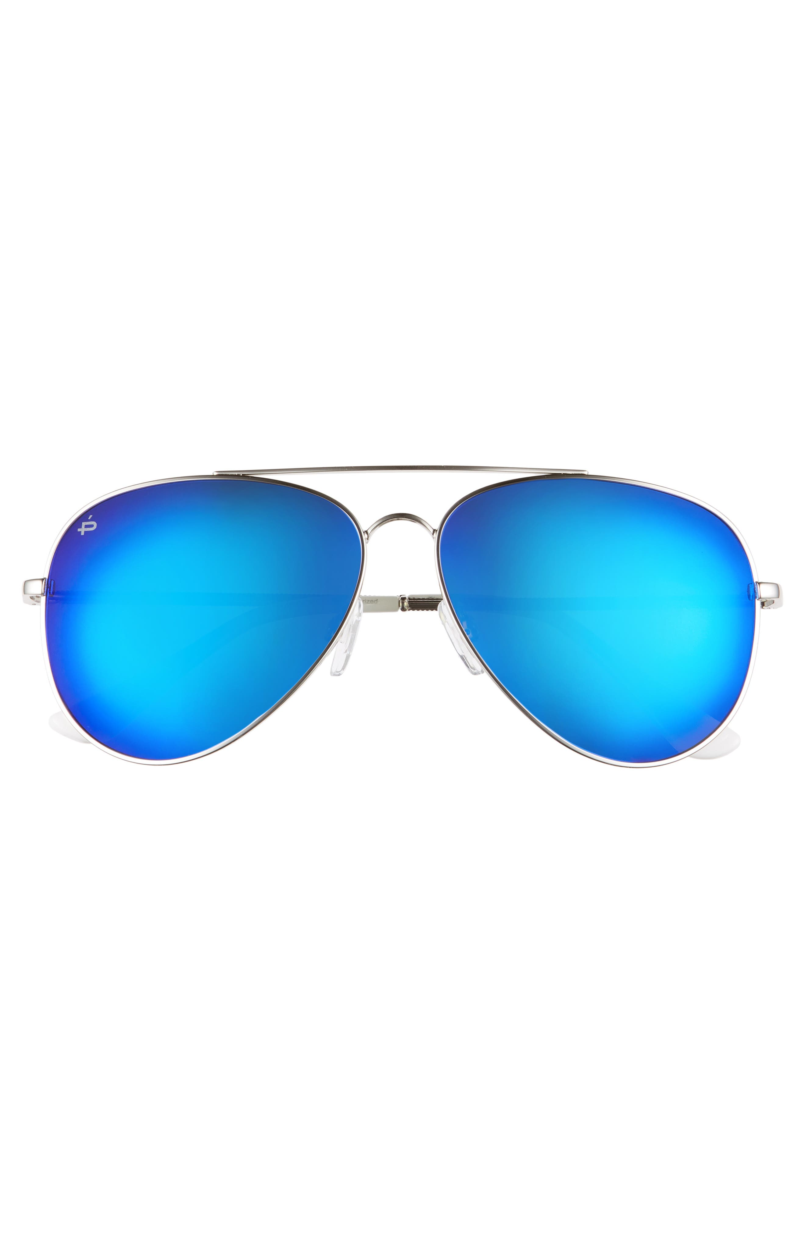 Privé Revaux The Cali Polarized 59mm Sunglasses,                             Alternate thumbnail 3, color,                             NICKEL SILVER