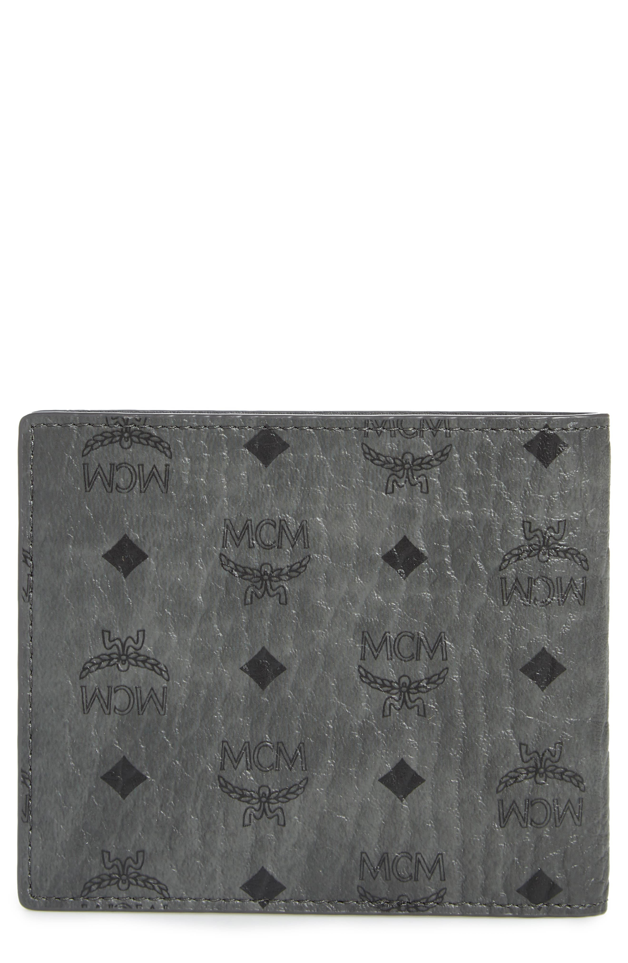 Logo Coated Canvas & Leather Wallet,                             Main thumbnail 1, color,                             PHANTOM GREY