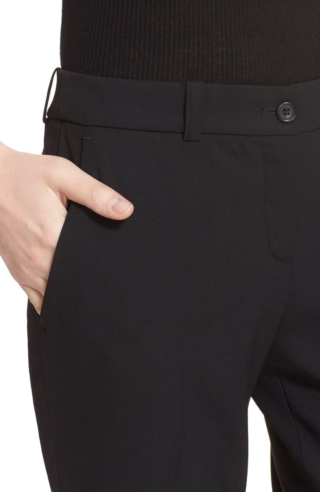 'Samantha' Stretch Wool Straight Leg Pants,                             Alternate thumbnail 4, color,                             BLACK
