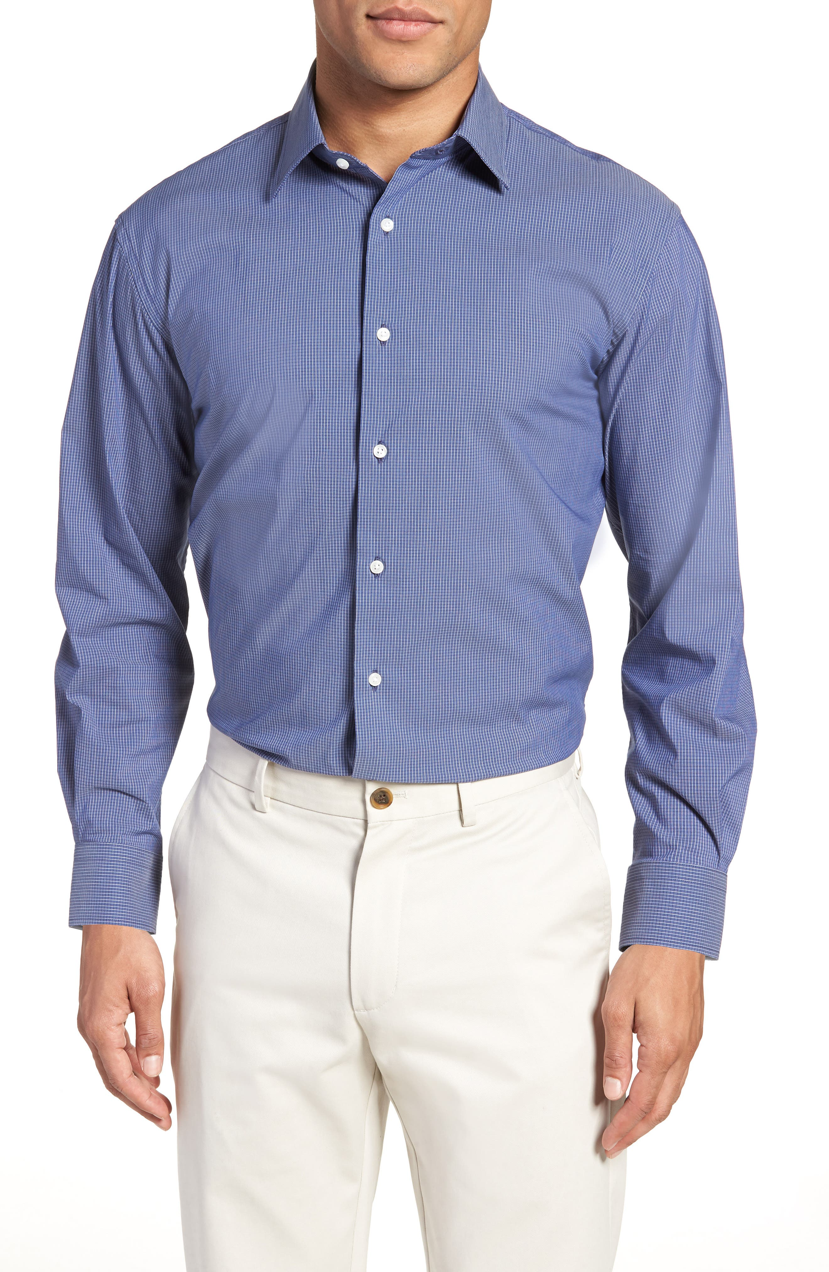 Traditional Fit Stretch Check Dress Shirt,                             Main thumbnail 1, color,