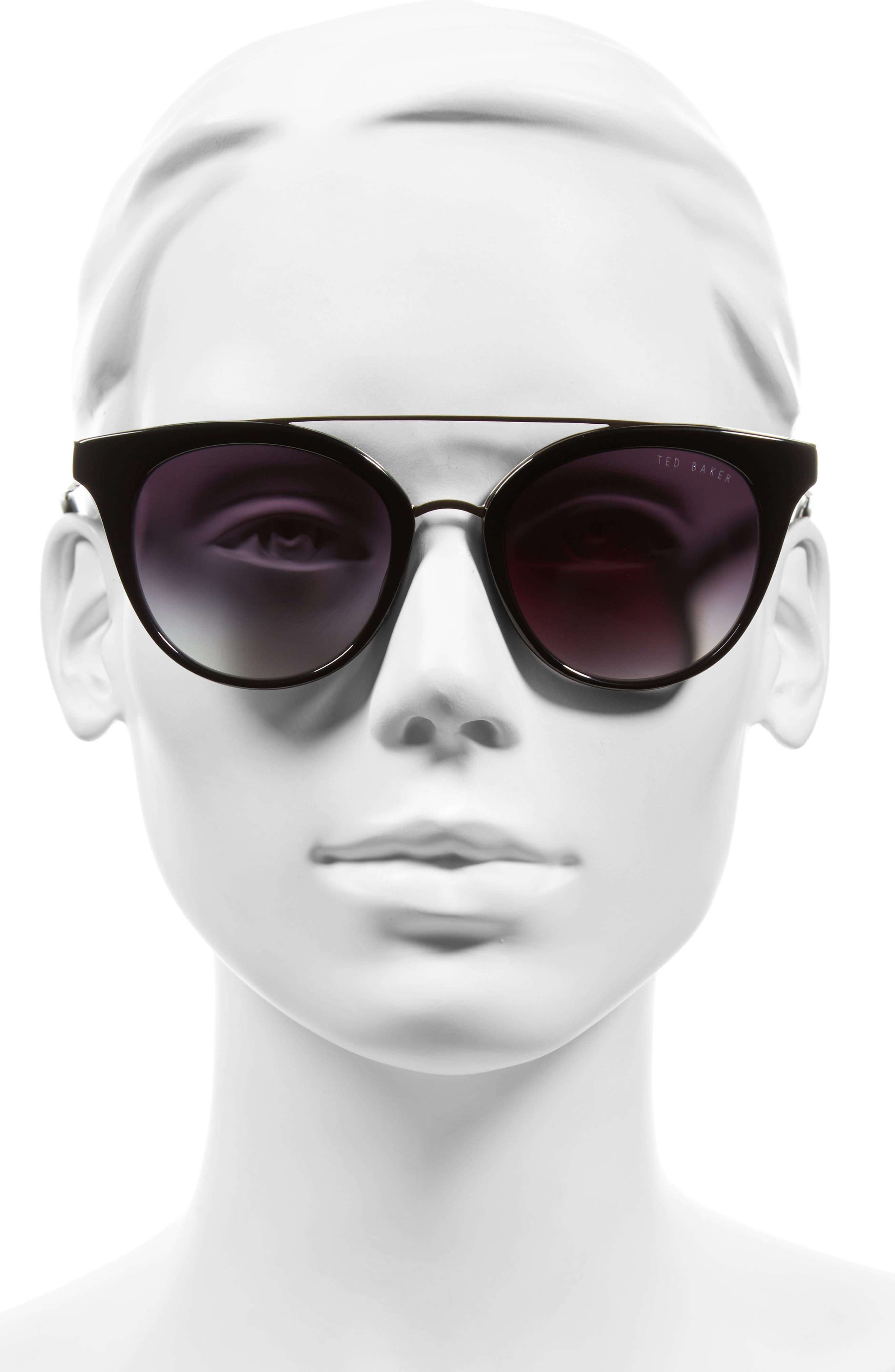 51mm Gradient Lens Round Retro Sunglasses,                             Main thumbnail 1, color,                             001