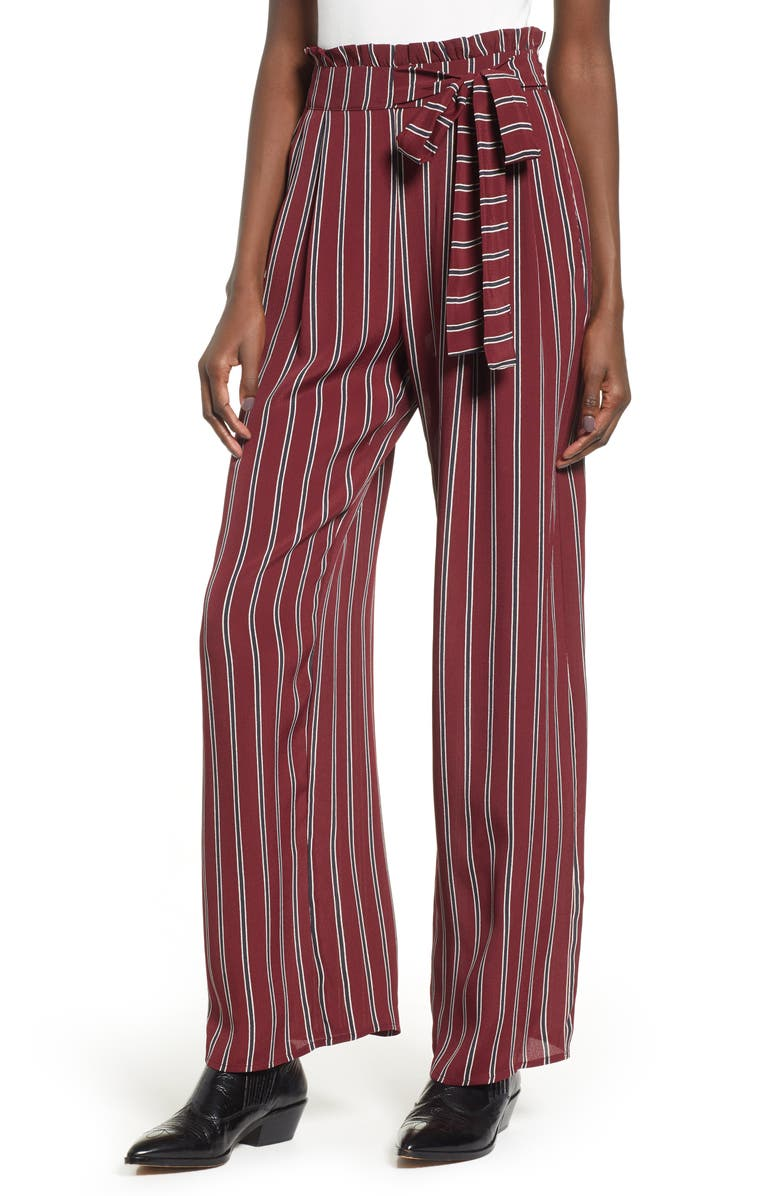 Band Of Gypsies AVERY TIE WAIST STRIPE PANTS