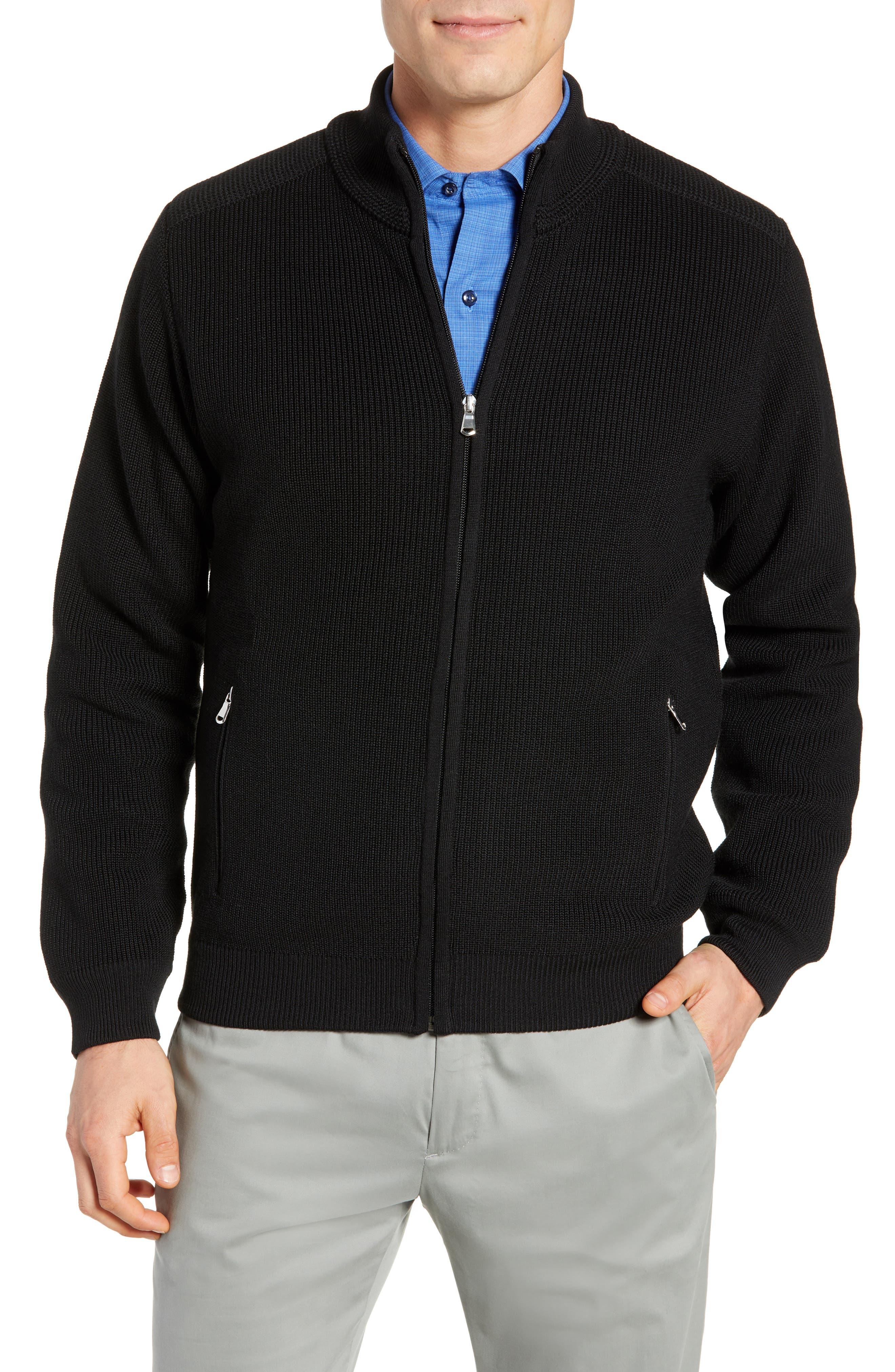 Water Resistant Merino Wool Blend Sweater,                             Main thumbnail 1, color,                             BLACK
