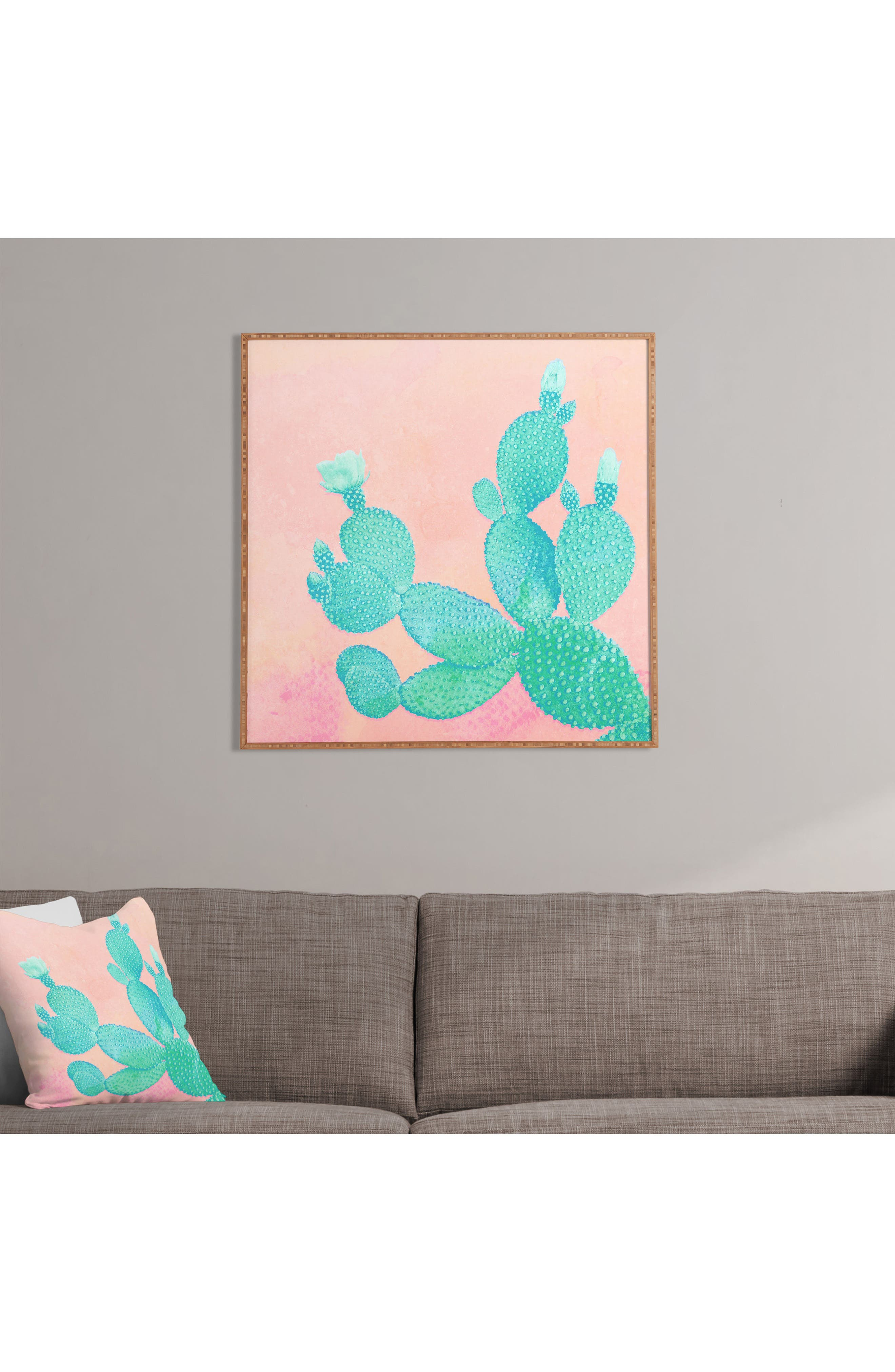 Pastel Cactus Framed Wall Art,                             Alternate thumbnail 2, color,                             PINK