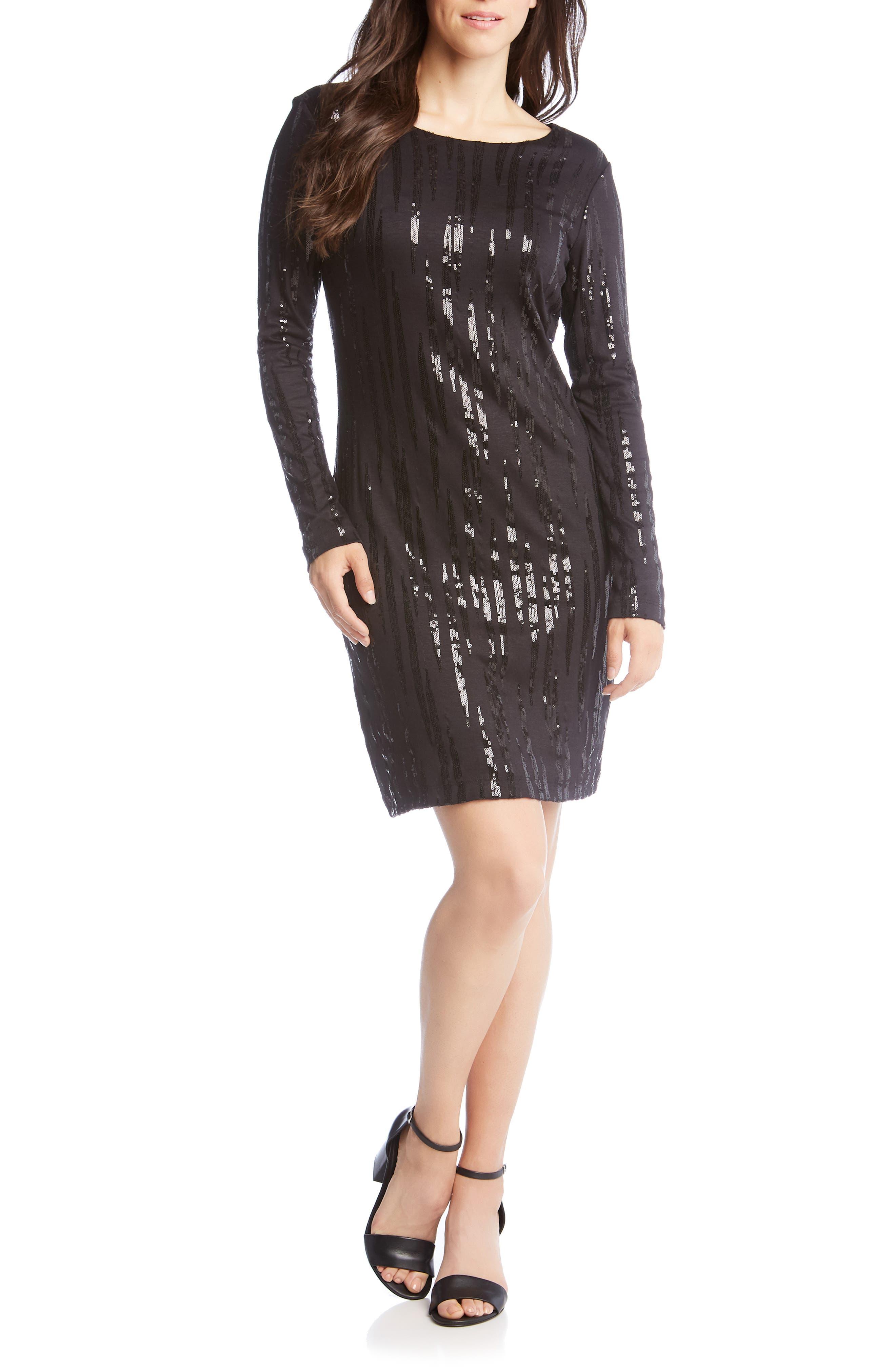 Sequin Sheath Dress,                             Main thumbnail 1, color,                             BLACK