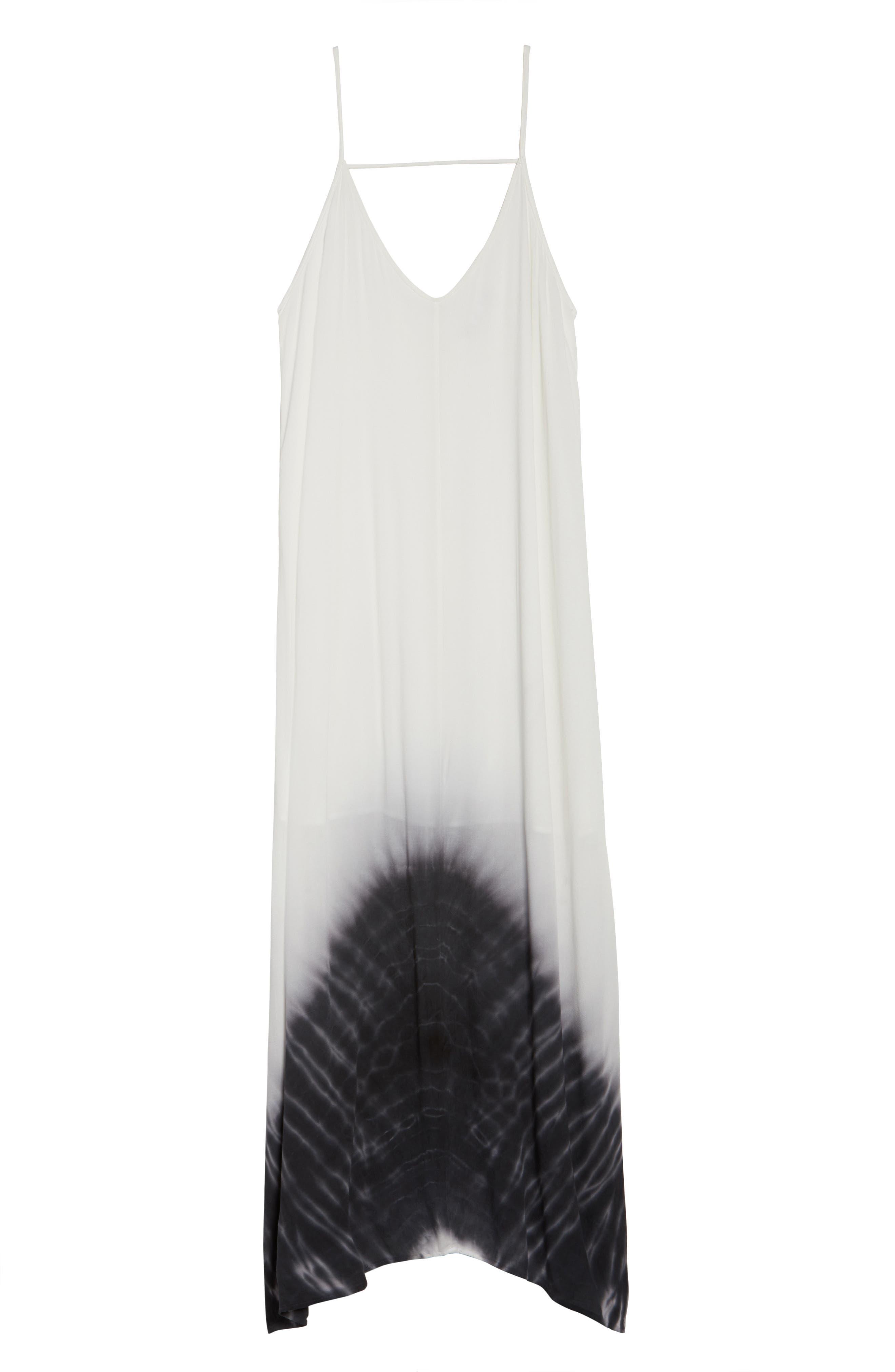 Border Print Crepe A-Line Maxi Dress,                             Alternate thumbnail 7, color,                             100