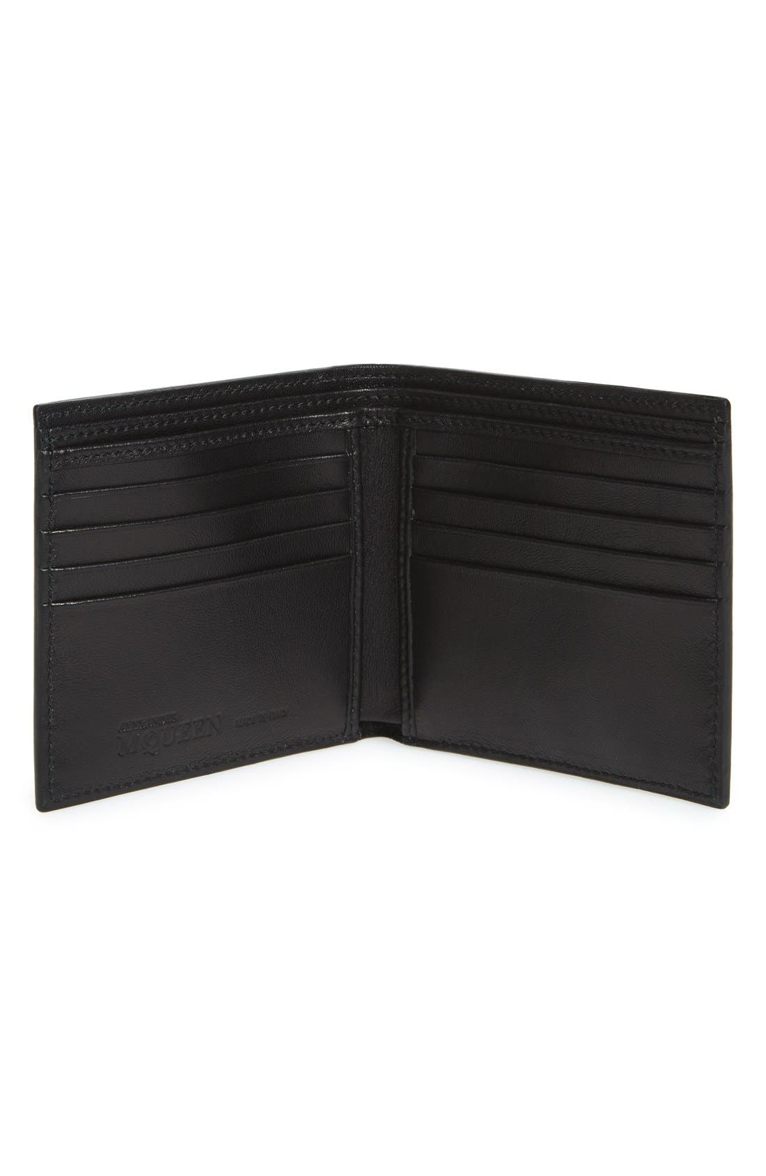 Rib Cage Leather Wallet,                             Alternate thumbnail 2, color,                             BLACK