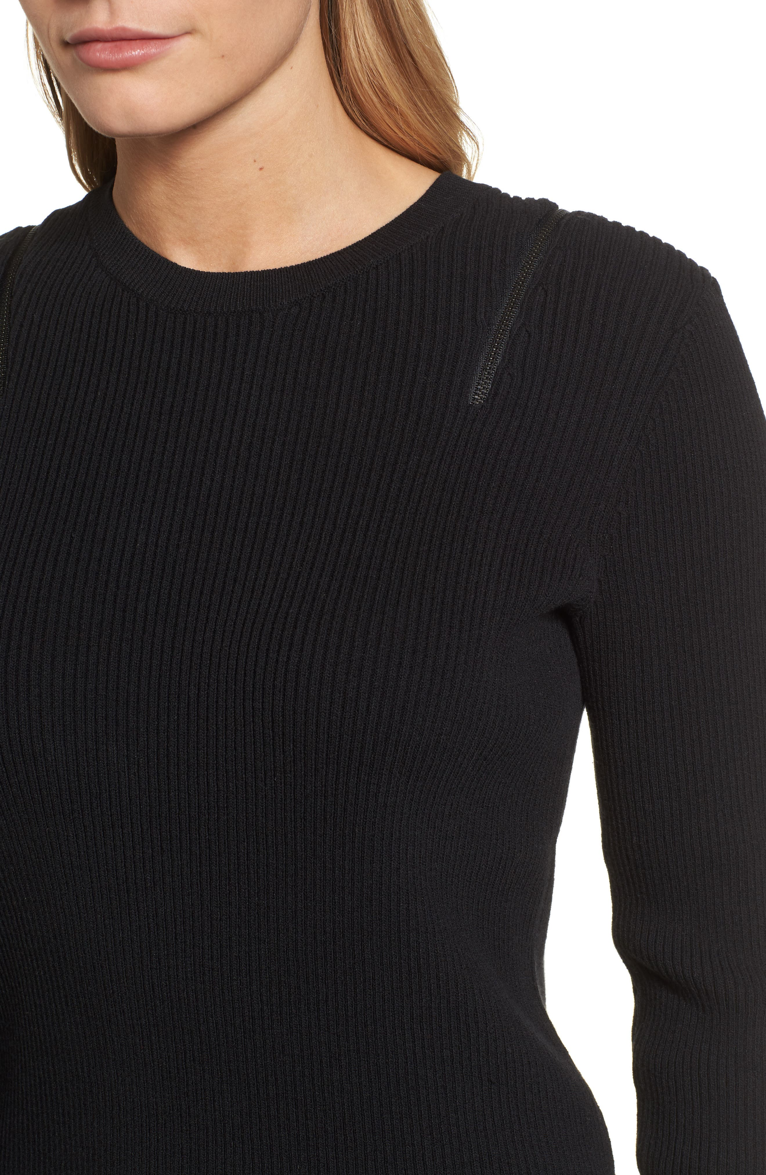 Zip Shoulder Ribbed Sweater,                             Alternate thumbnail 4, color,                             001