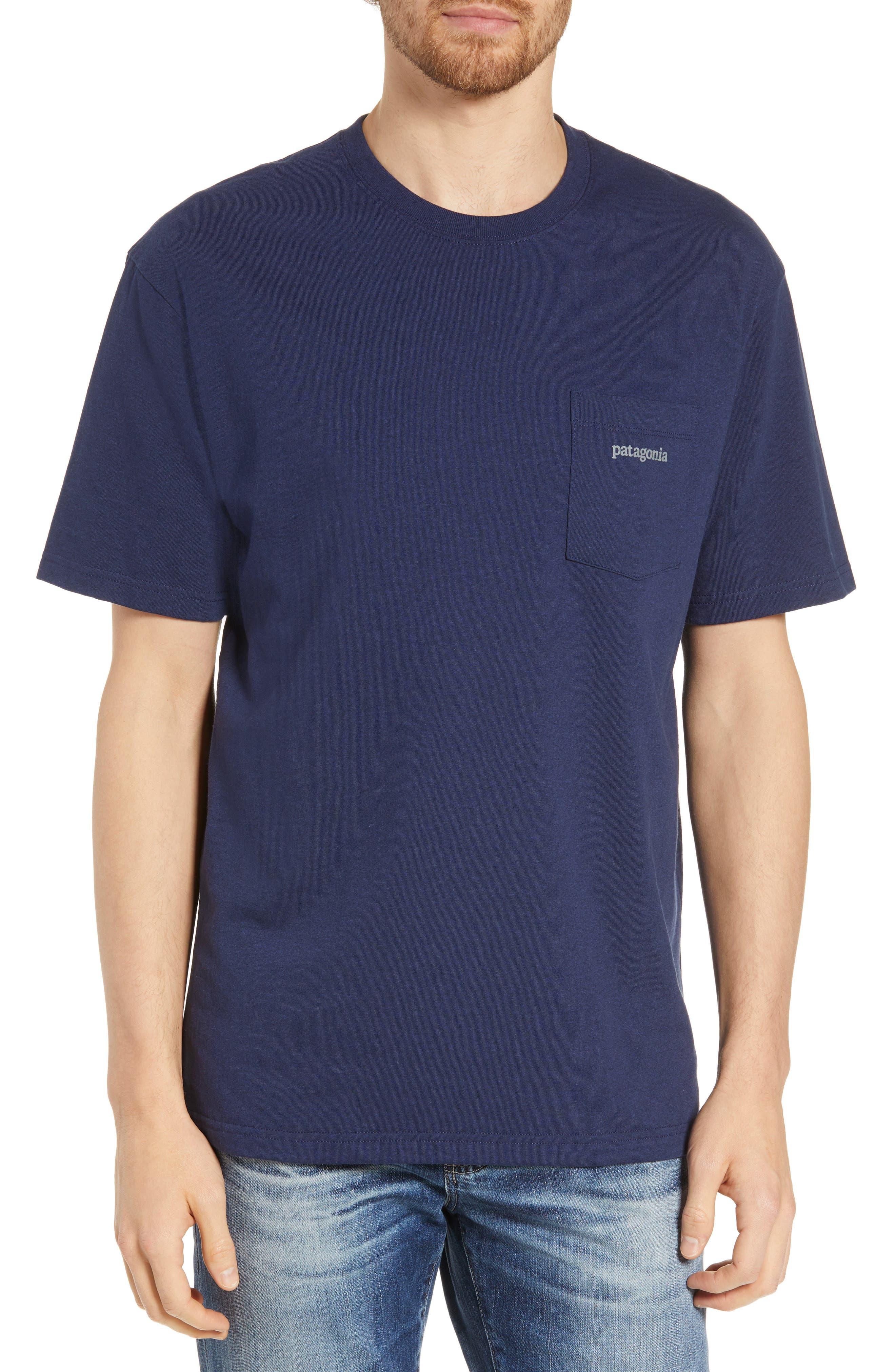 Patagonia Line Ridge Logo Resposibili-Tee Pocket T-Shirt, Blue