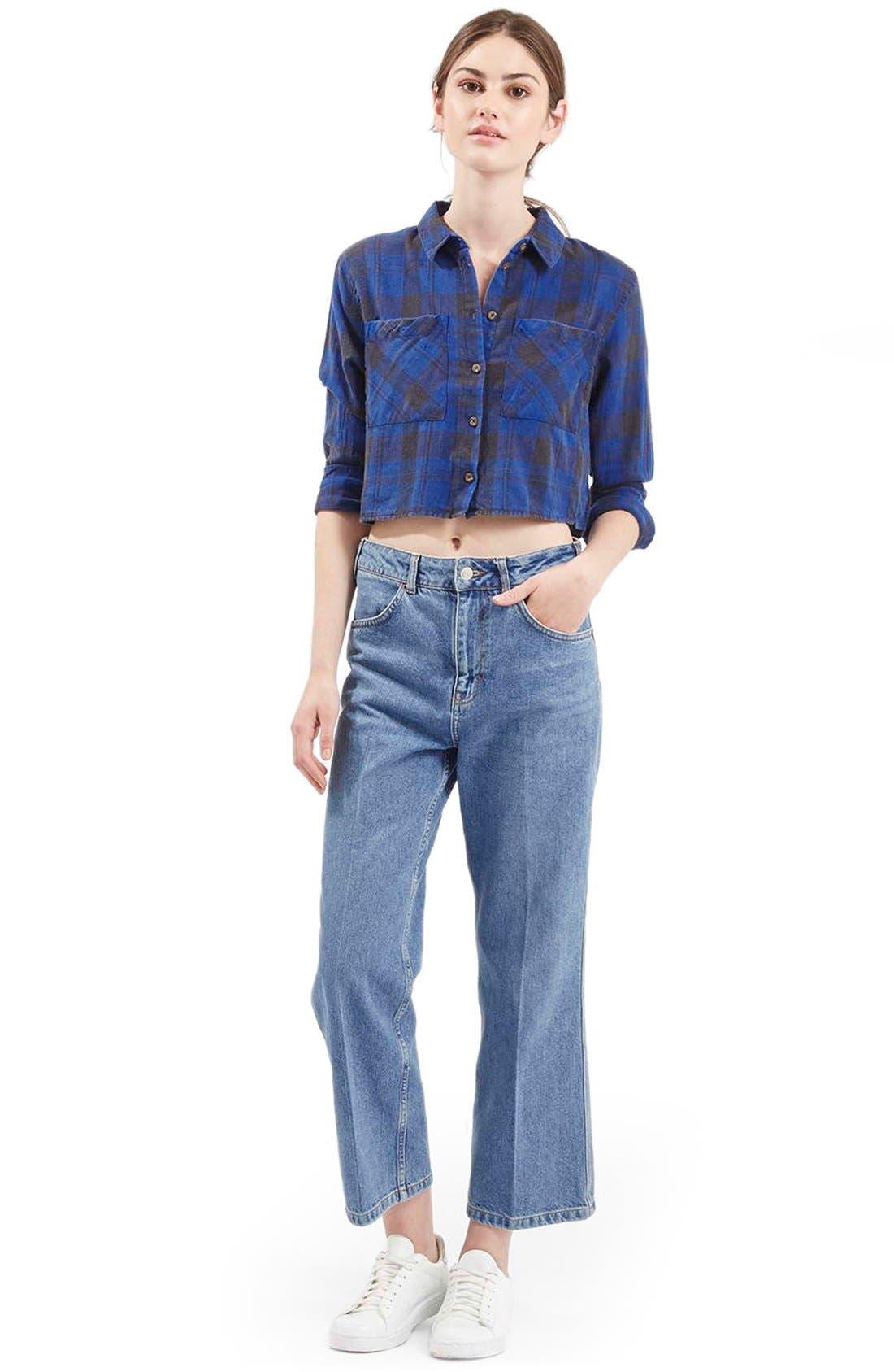 'Chloe' Crop Plaid Shirt,                             Alternate thumbnail 4, color,                             400