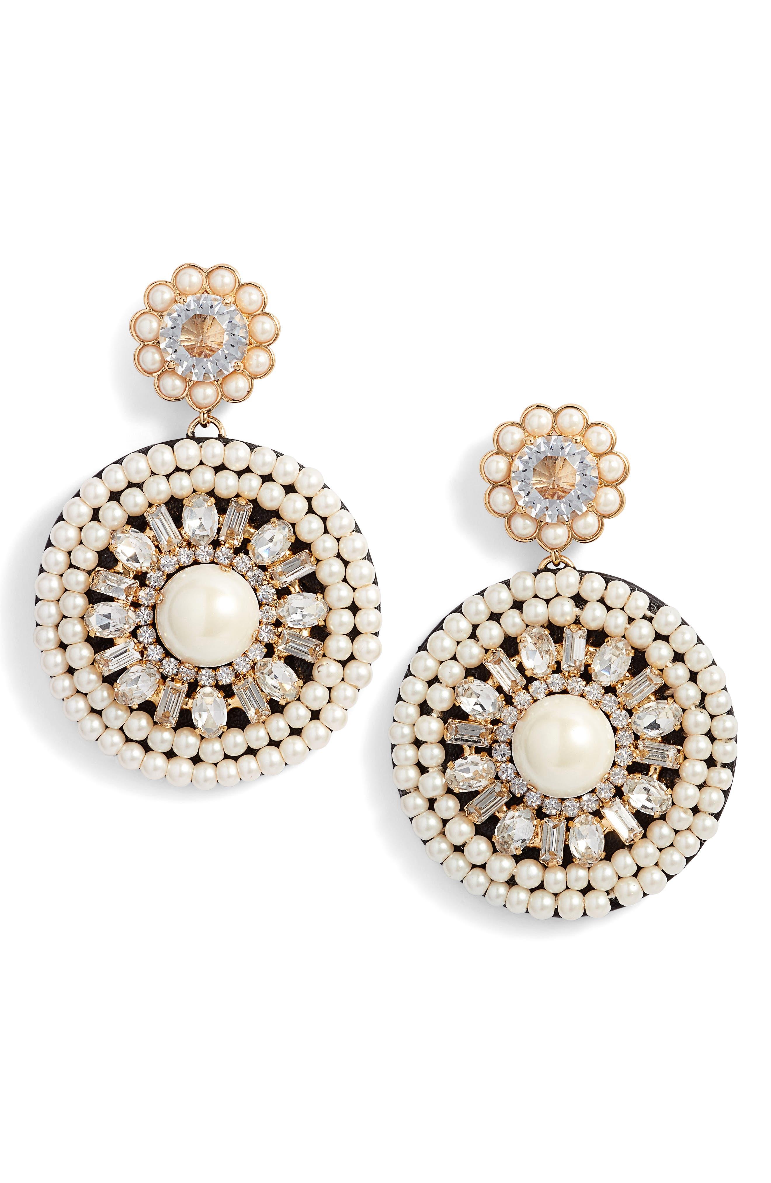 luminous leather statement earrings,                             Main thumbnail 3, color,