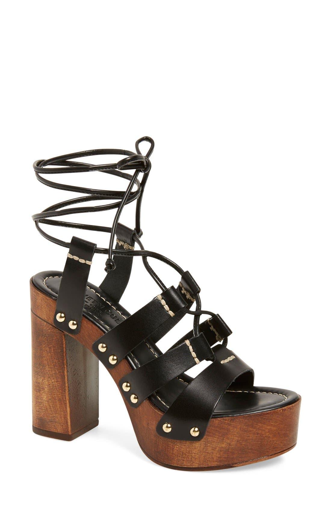 'Kenzie' Lace-Up Sandal,                         Main,                         color, 001