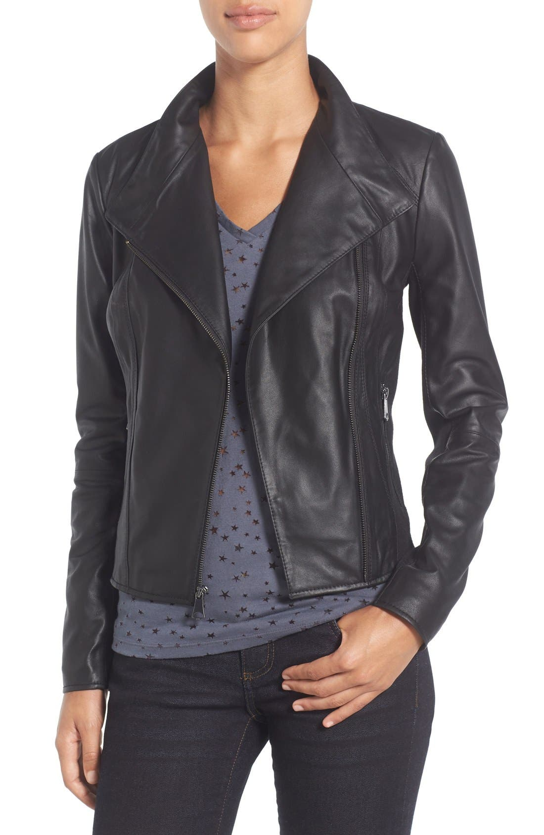 Marc New York by Andrew Marc Felix Stand Collar Leather Jacket,                             Main thumbnail 1, color,                             BLACK