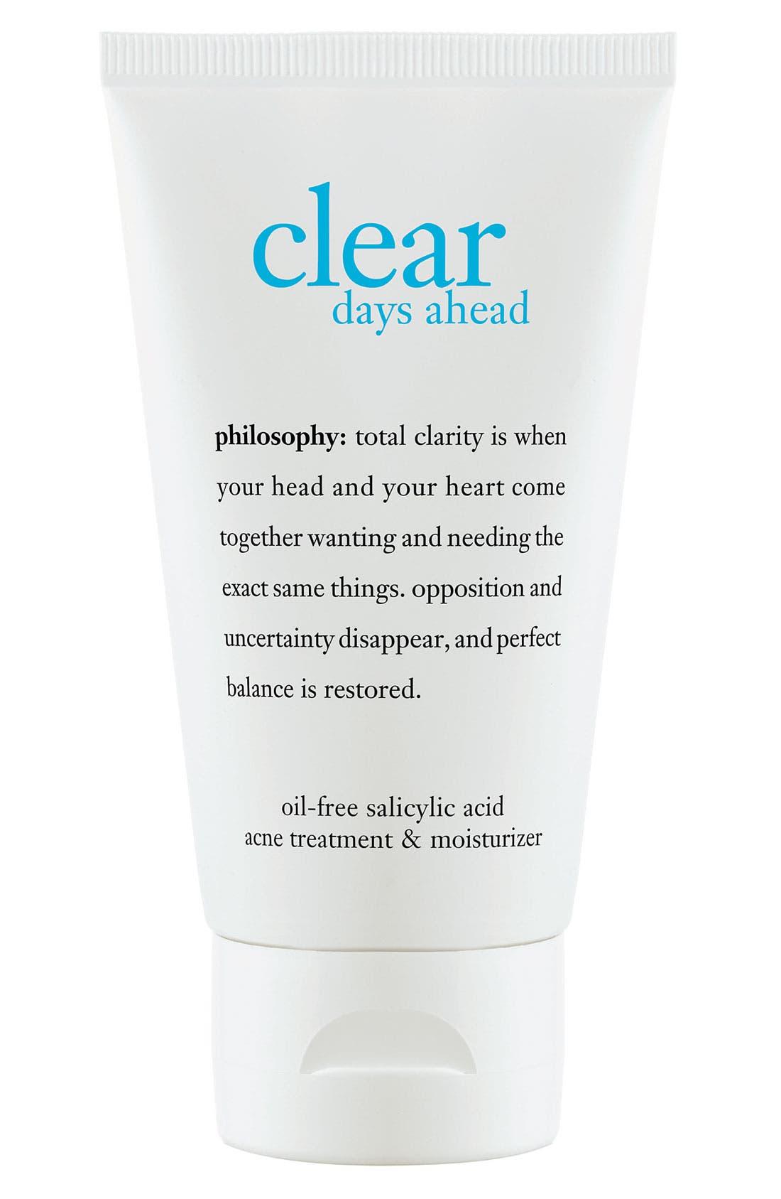 'clear days ahead' acne treatment gel moisturizer,                         Main,                         color, 000