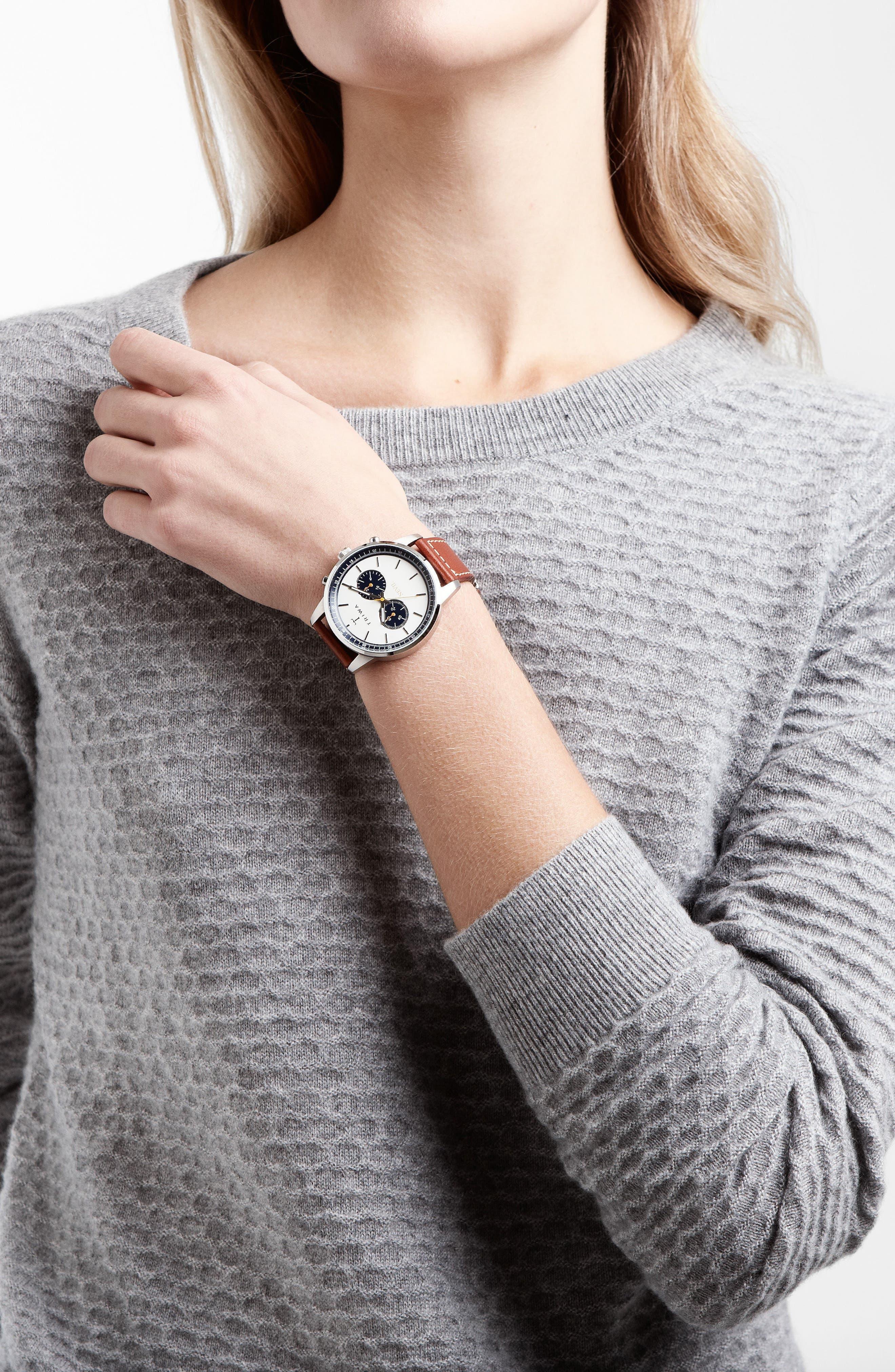 Ocean Nevil Chronograph Leather Strap Watch, 42mm,                             Alternate thumbnail 3, color,                             TAN/ WHITE/ SILVER