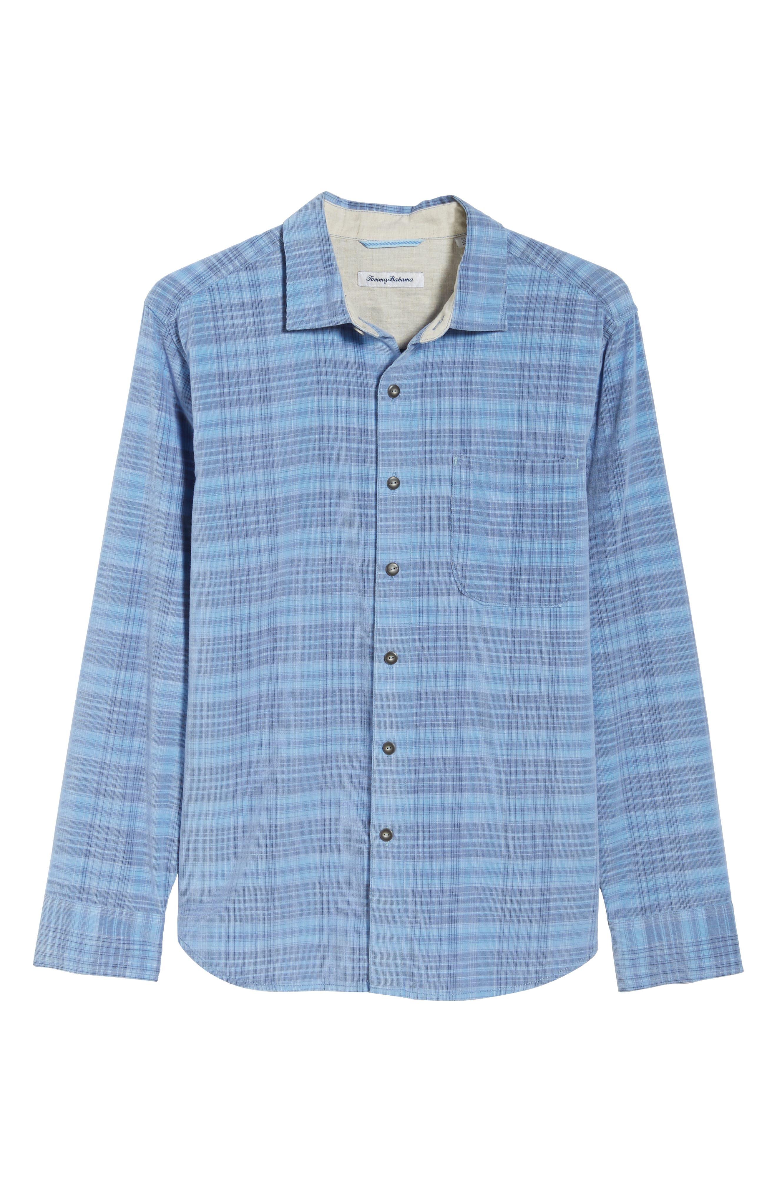 Cruzy Plaid Corduroy Sport Shirt,                             Alternate thumbnail 6, color,                             RIVIERA AZURE