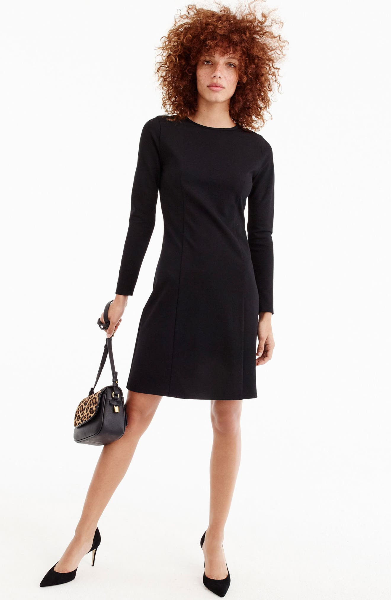 Storm Ponte Knit Dress,                             Alternate thumbnail 5, color,                             001