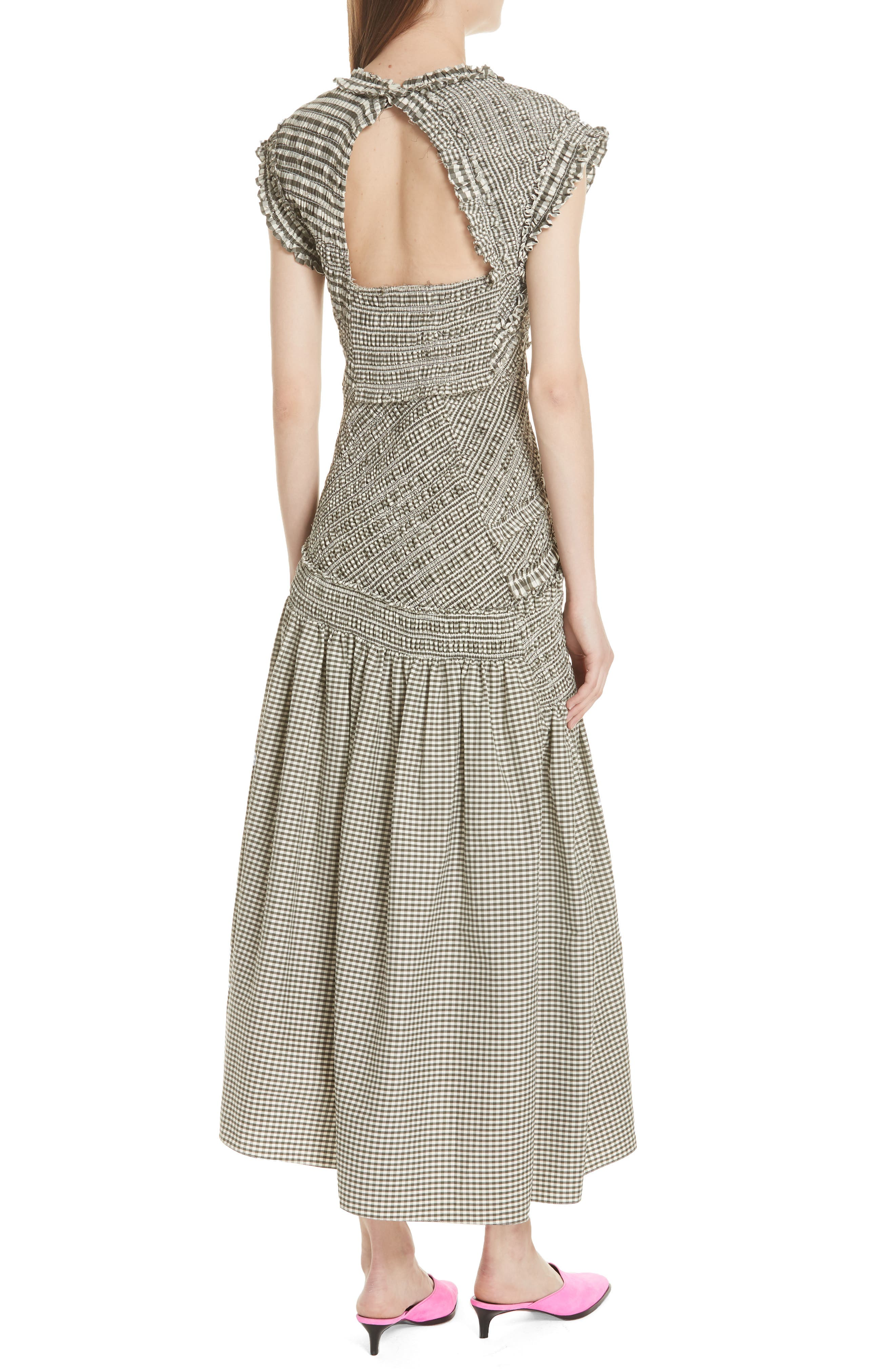 Gathered Gingham Drop Waist Dress,                             Alternate thumbnail 2, color,                             033