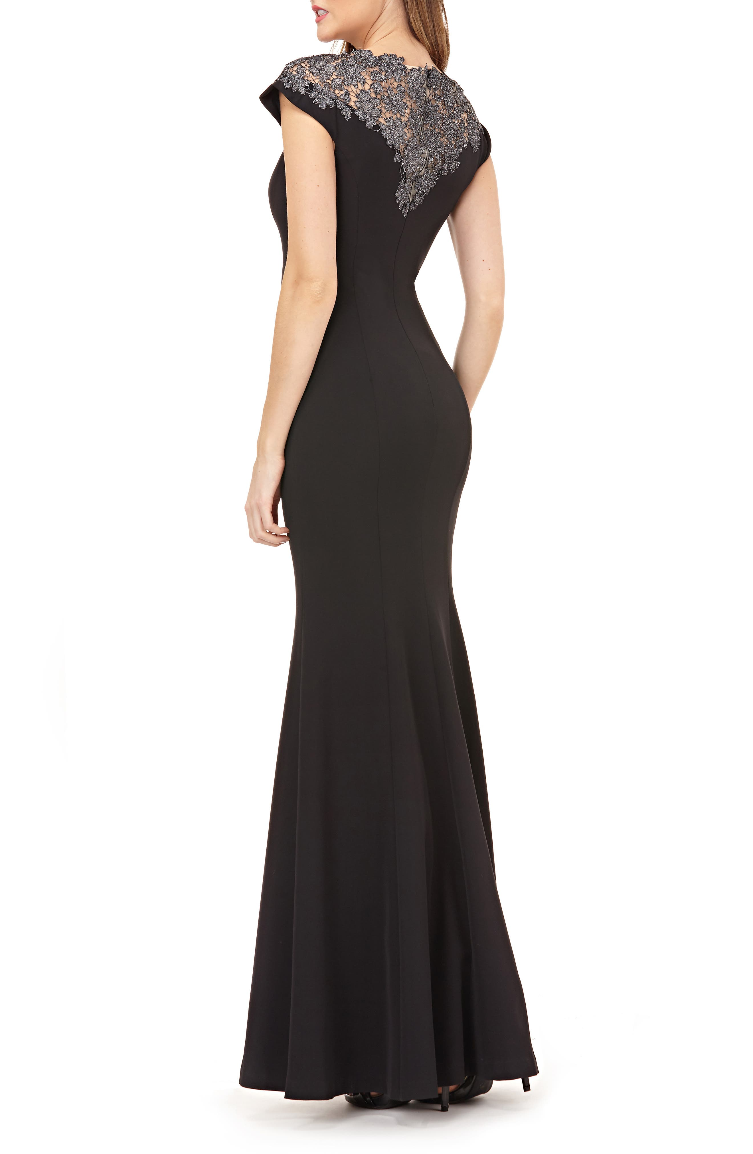 JS COLLECTIONS,                             Lace Yoke Crepe Trumpet Gown,                             Alternate thumbnail 2, color,                             BLACK