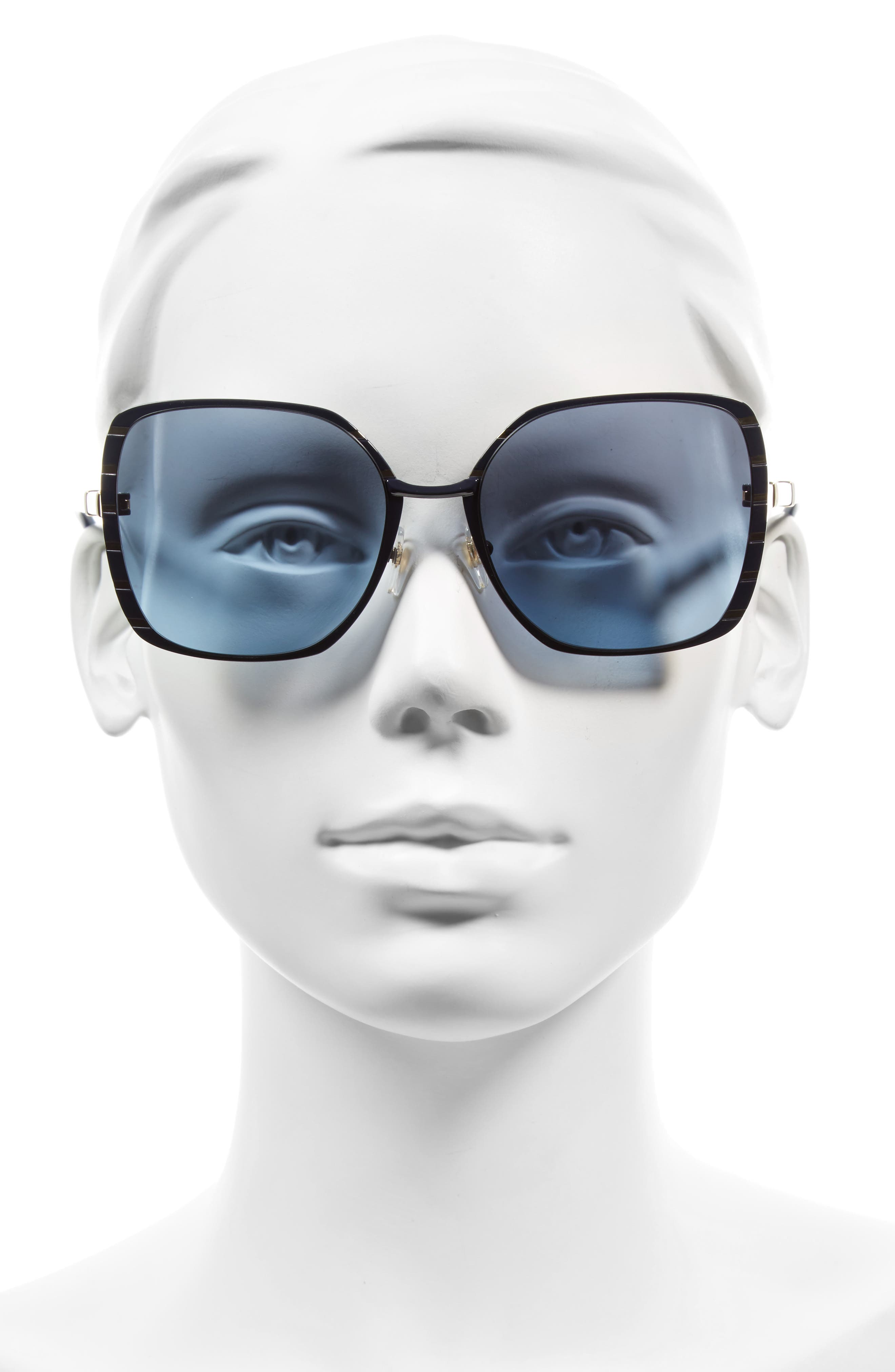 57mm Gradient Square Sunglasses,                             Alternate thumbnail 5, color,