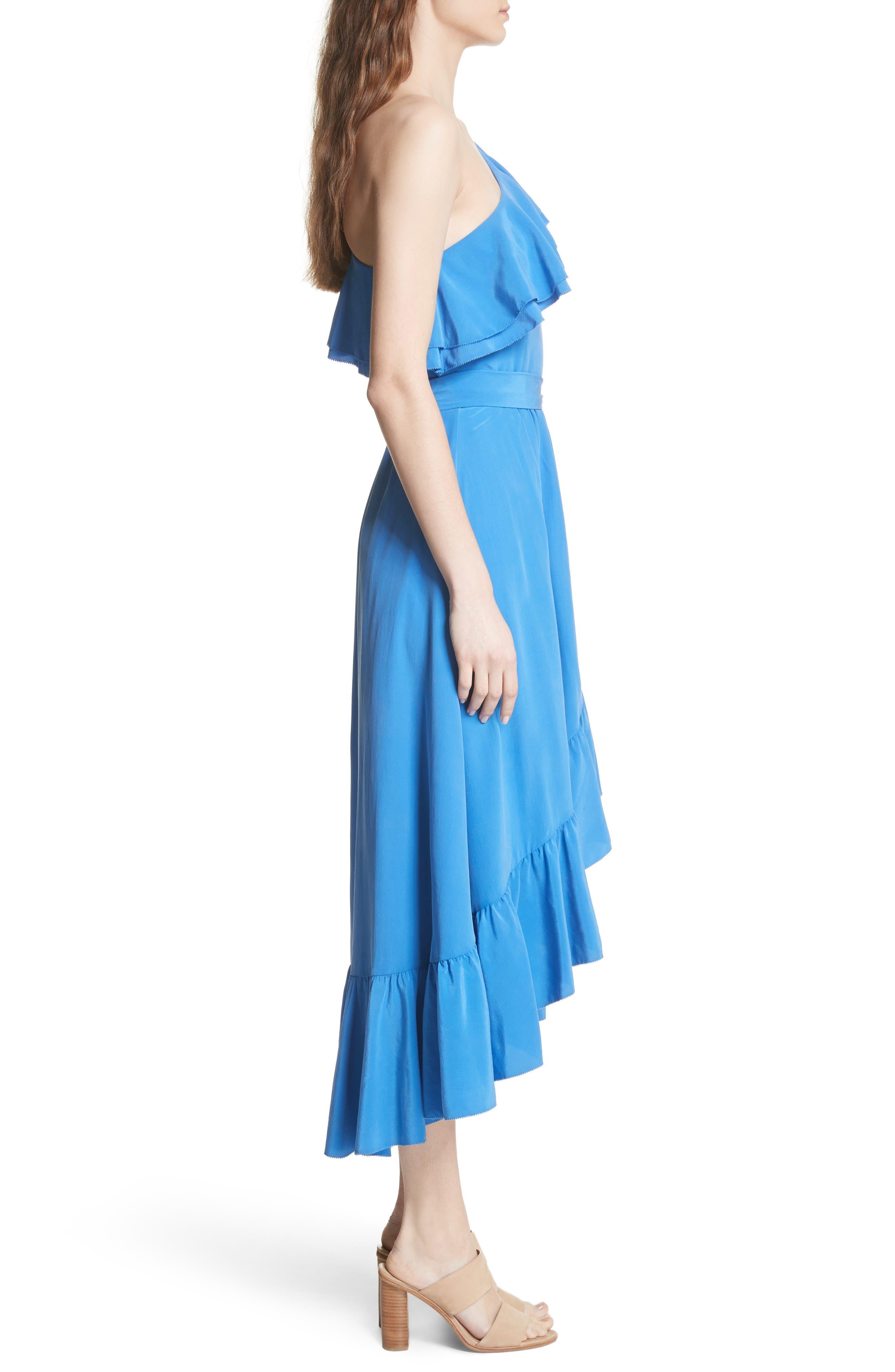 Damica Ruffle One-Shoulder Silk Dress,                             Alternate thumbnail 3, color,                             420