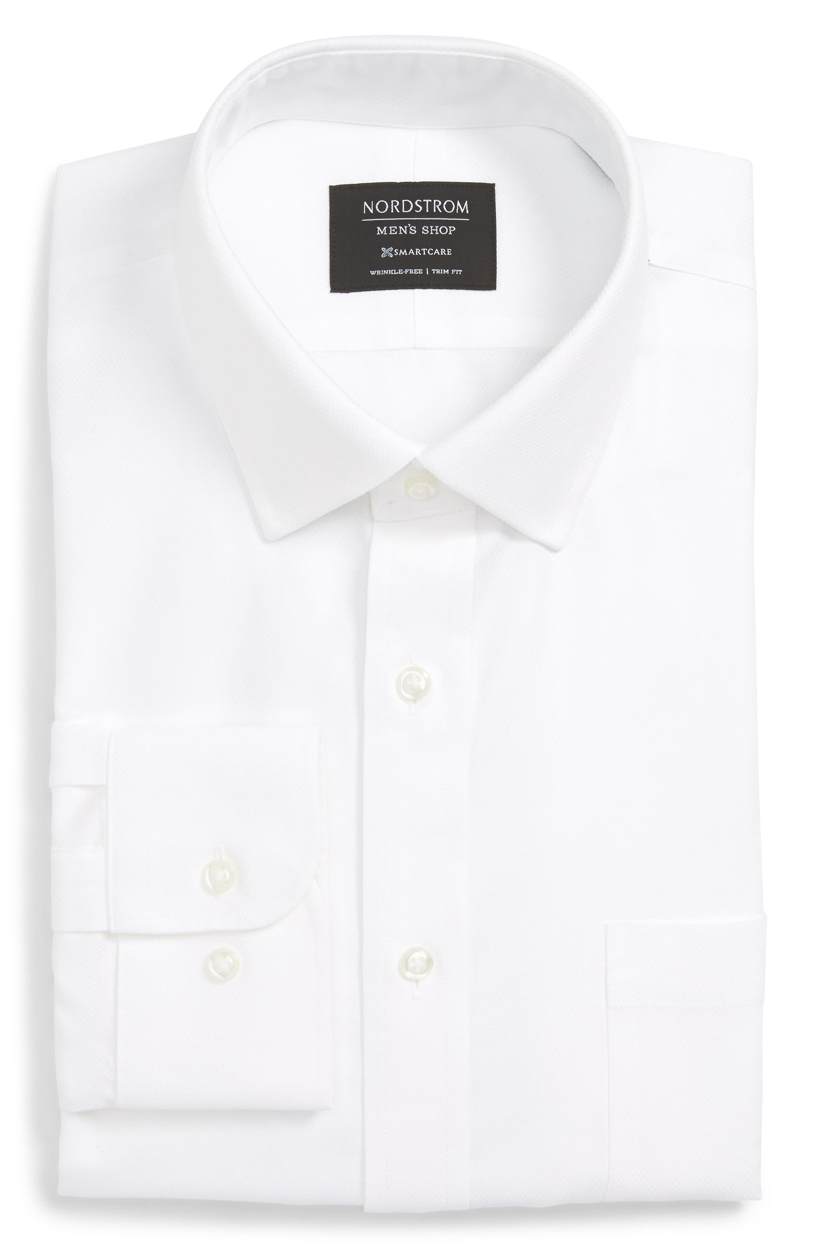 Smartcare<sup>™</sup> Trim Fit Solid Dress Shirt,                             Alternate thumbnail 5, color,                             100