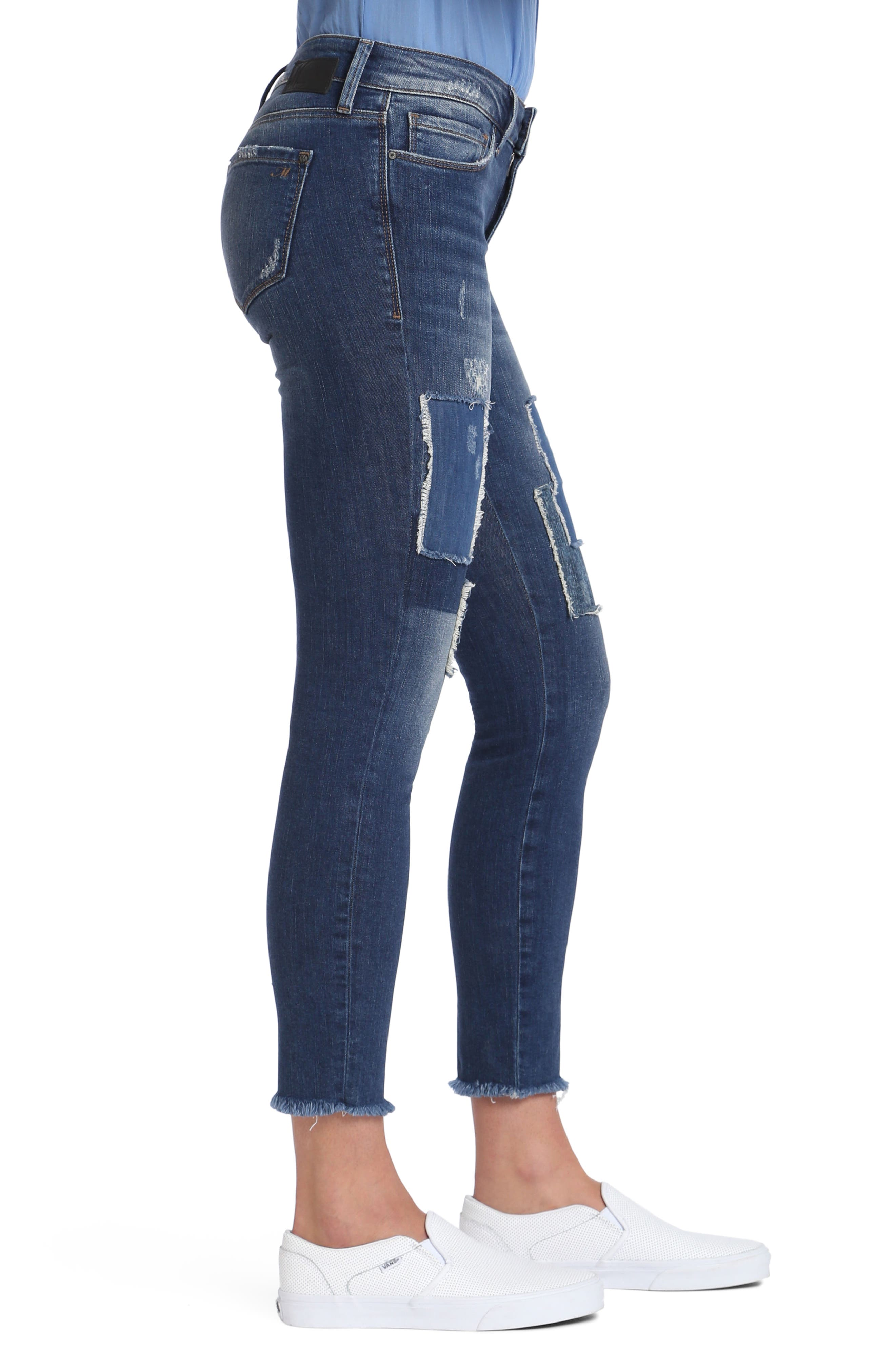 Adriana Patched Stretch Skinny Jeans,                             Alternate thumbnail 3, color,                             401
