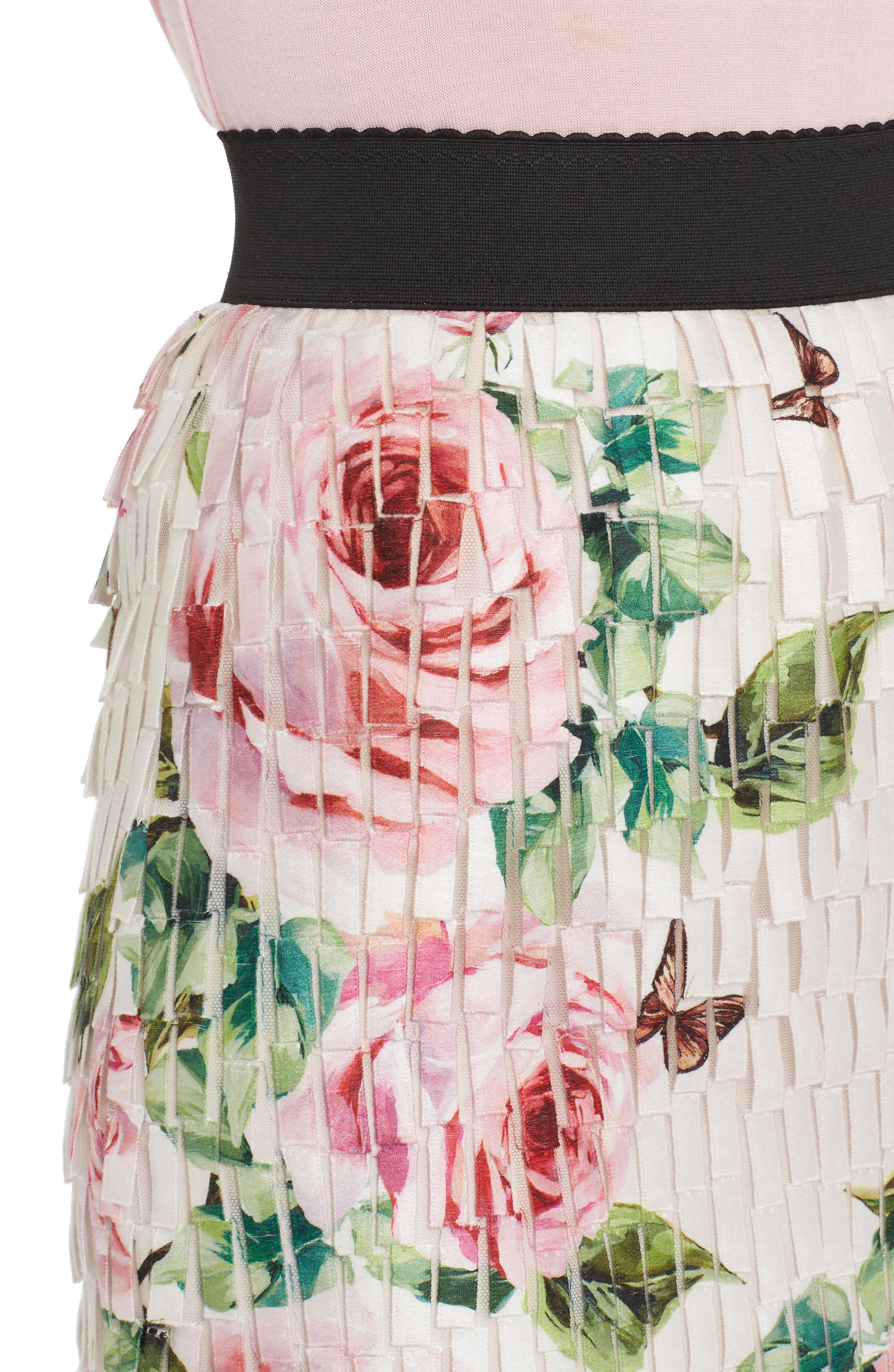 Rose Print Fringe Skirt,                             Alternate thumbnail 4, color,                             680