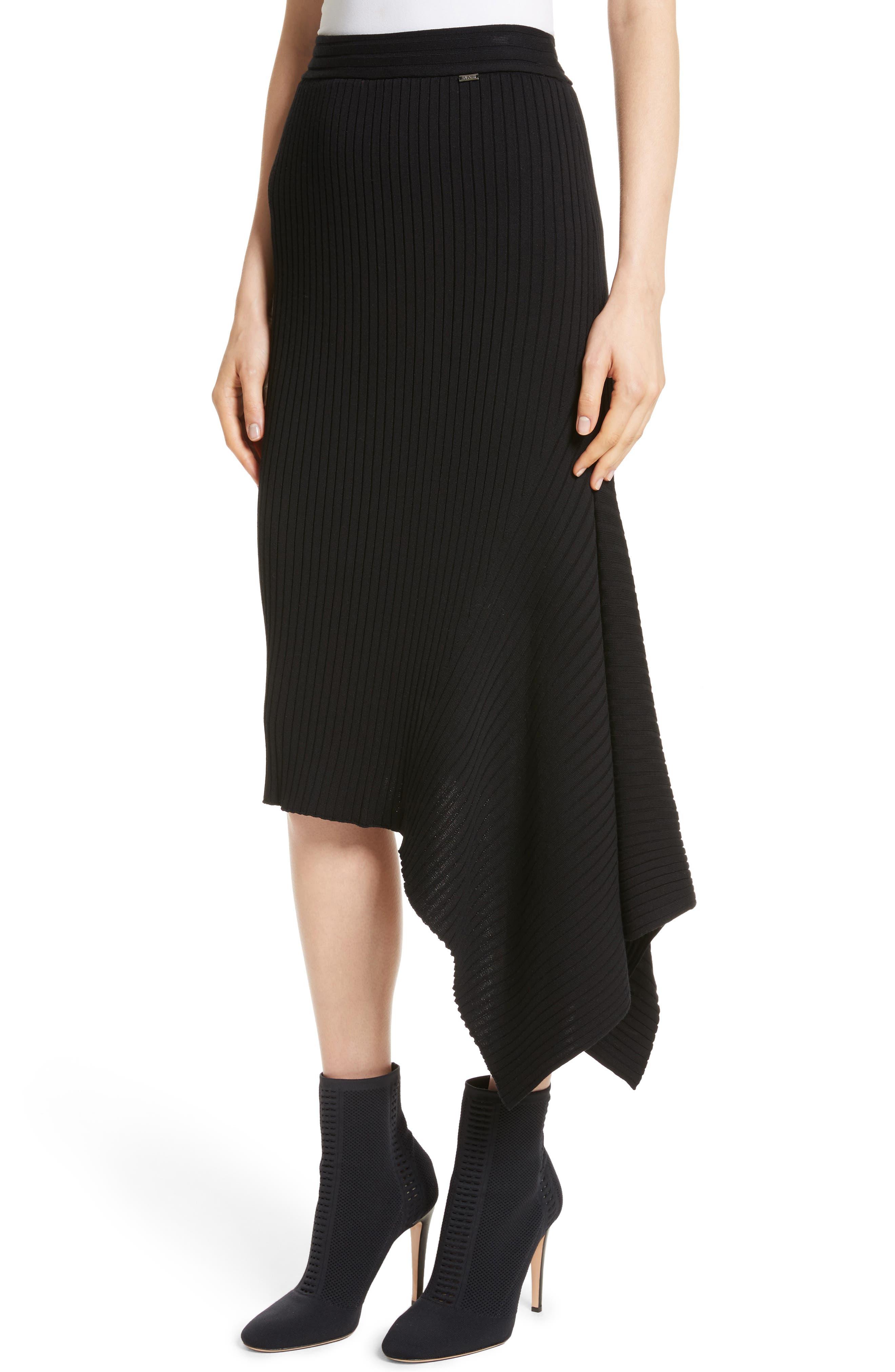 Flat Rib Knit Asymmetrical Skirt,                             Alternate thumbnail 4, color,                             CAVIAR