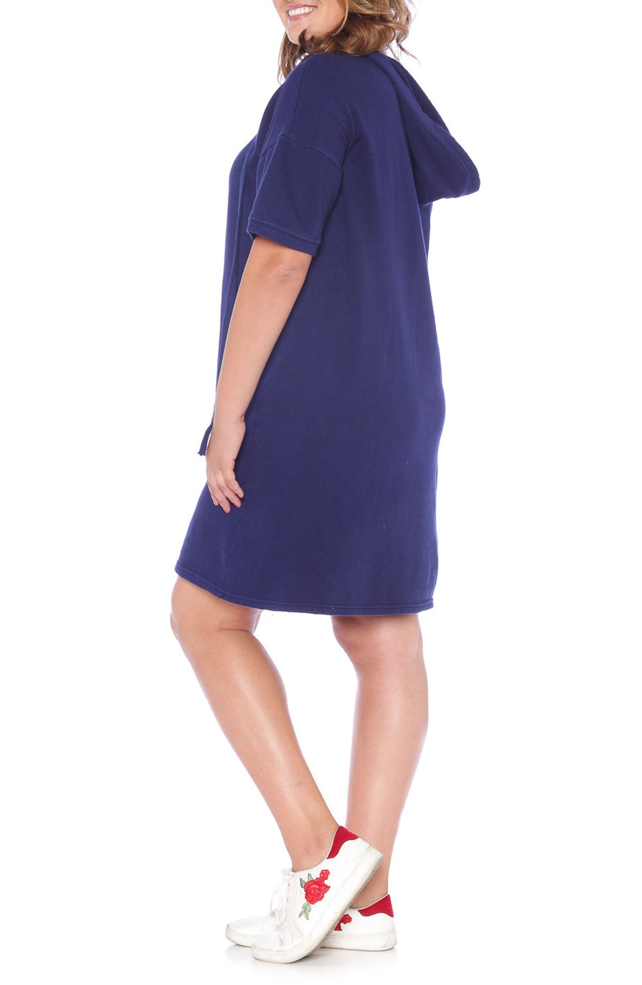 Lace-Up Hoodie Dress,                             Alternate thumbnail 4, color,                             NAVY