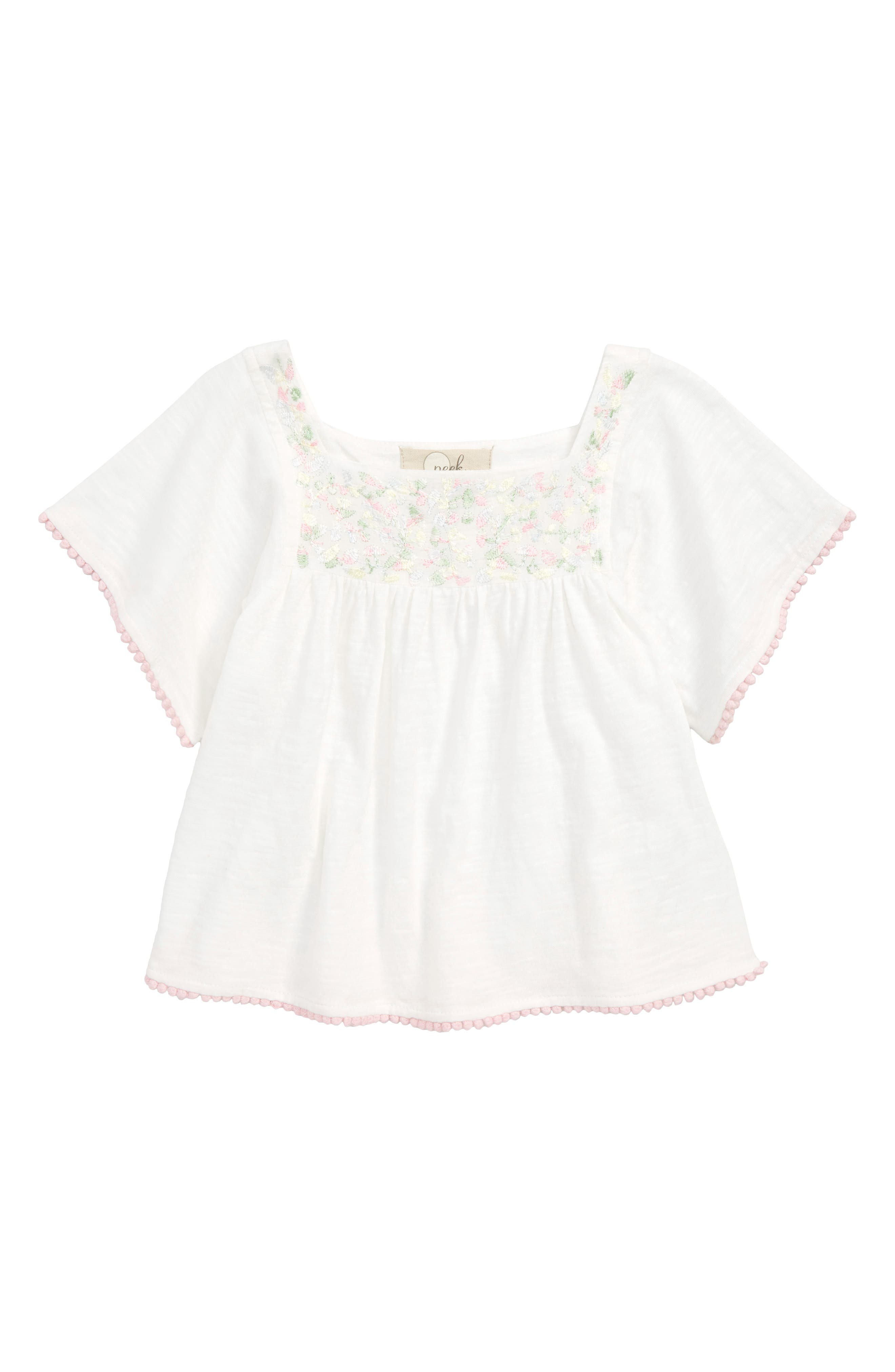 Arden Embroidered Pompom Top,                         Main,                         color, IVORY