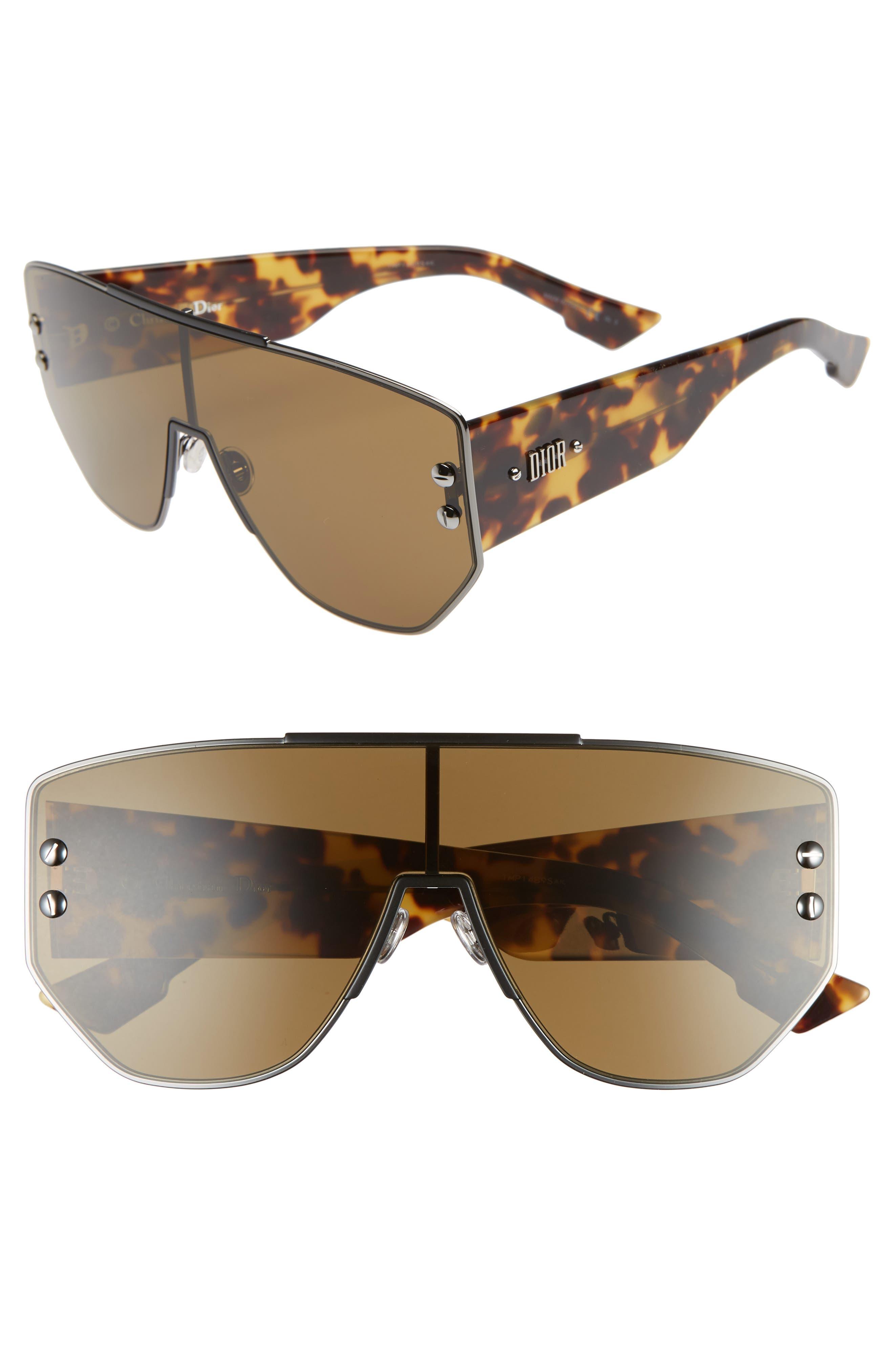 72mm Rimless Shield Sunglasses,                         Main,                         color, DARK RUTHENIUM/ BLACK