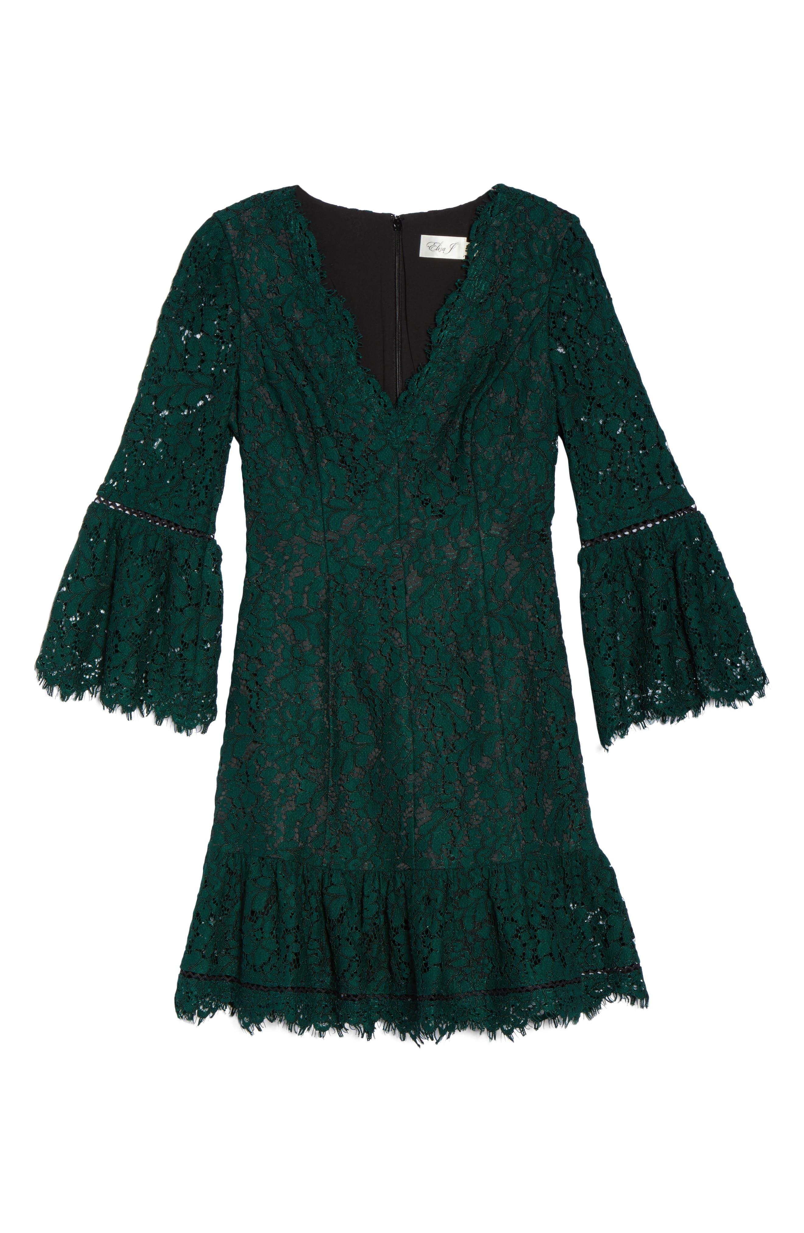 Bell Sleeve Lace Dress, Alternate, color, GREEN/ BLACK
