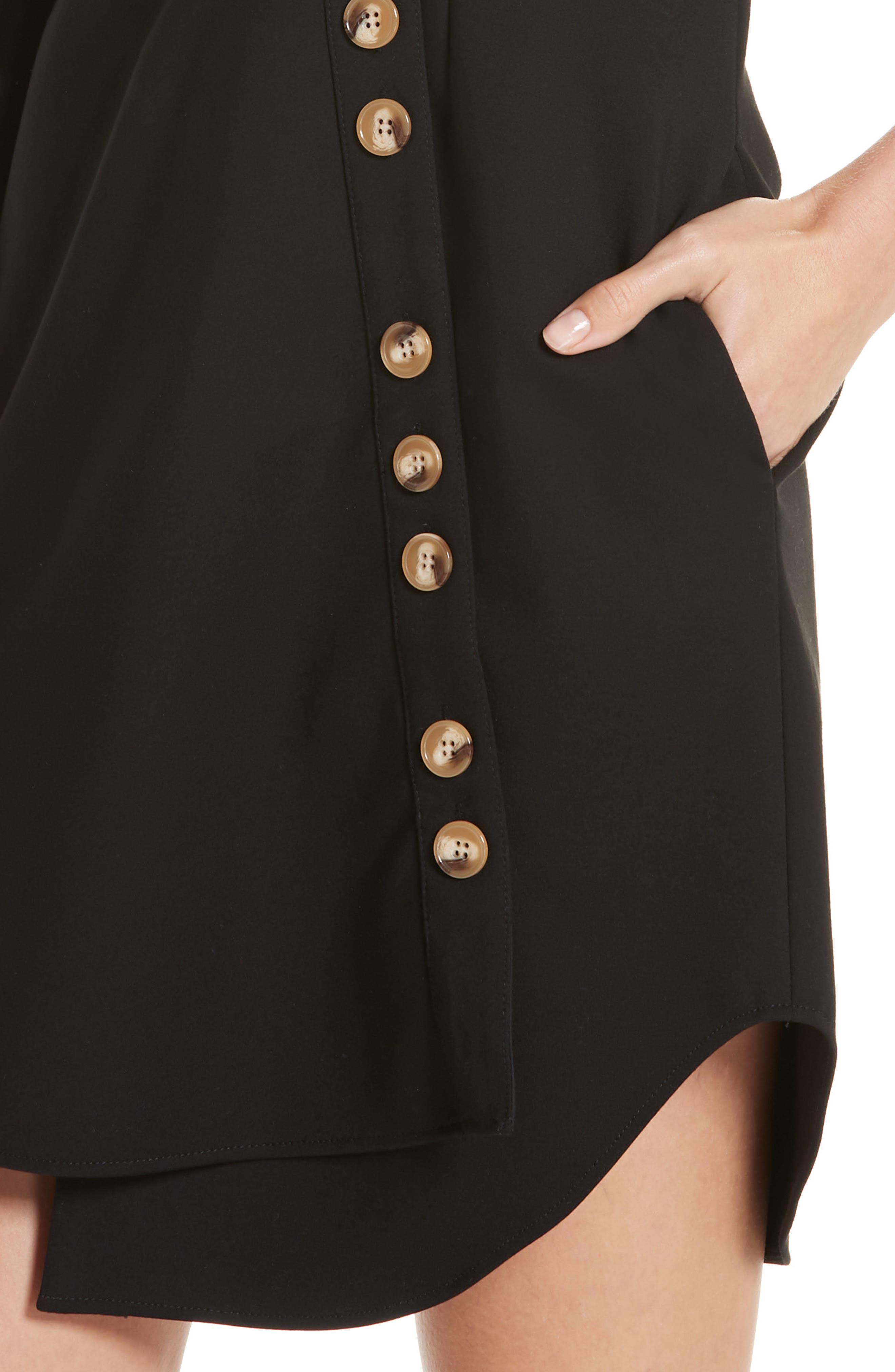 TIBI,                             Asymmetrical Shirtdress,                             Alternate thumbnail 4, color,                             001