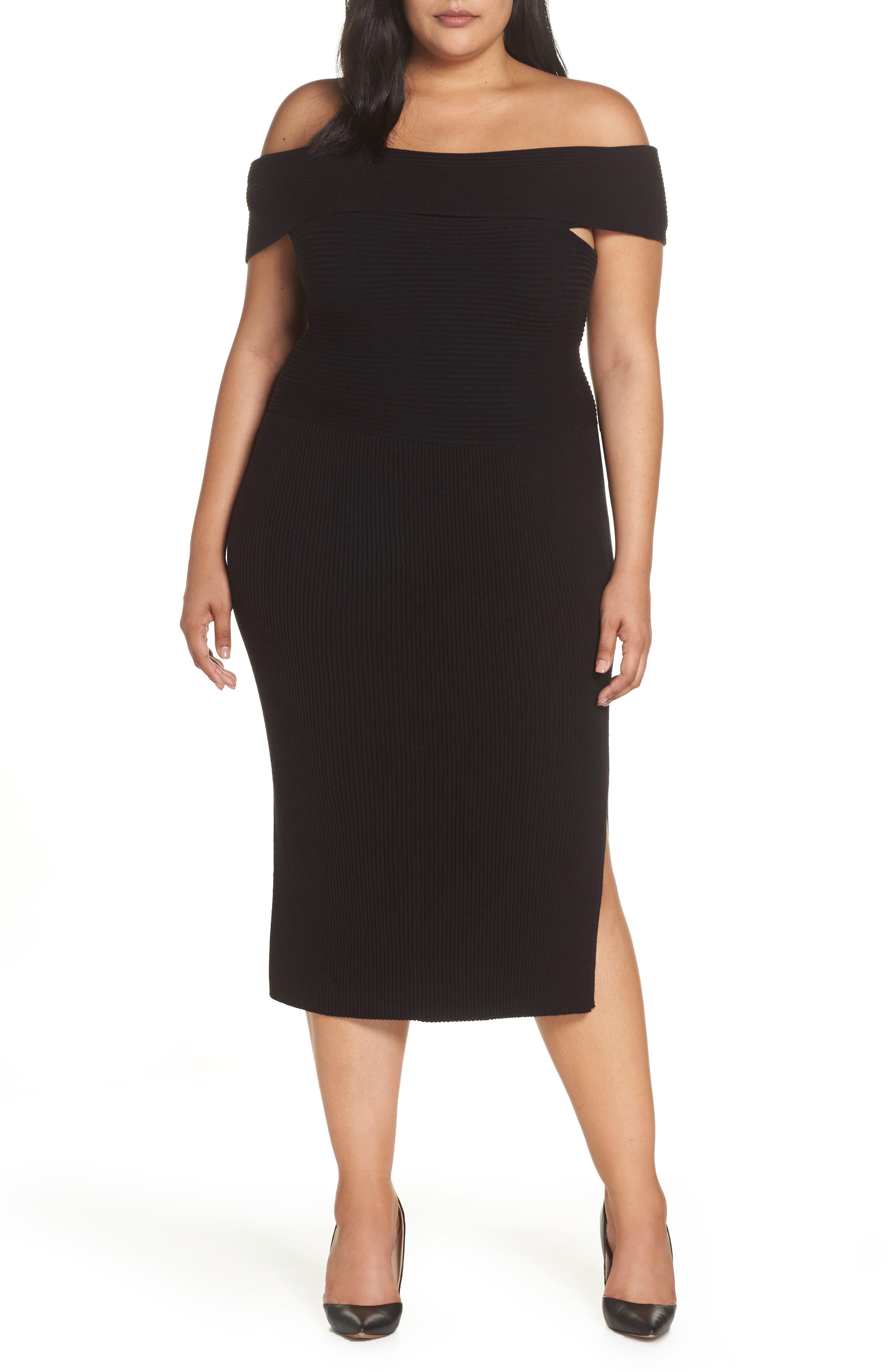 Plus Size Eliza J Off The Shoulder Midi Sweater Dress