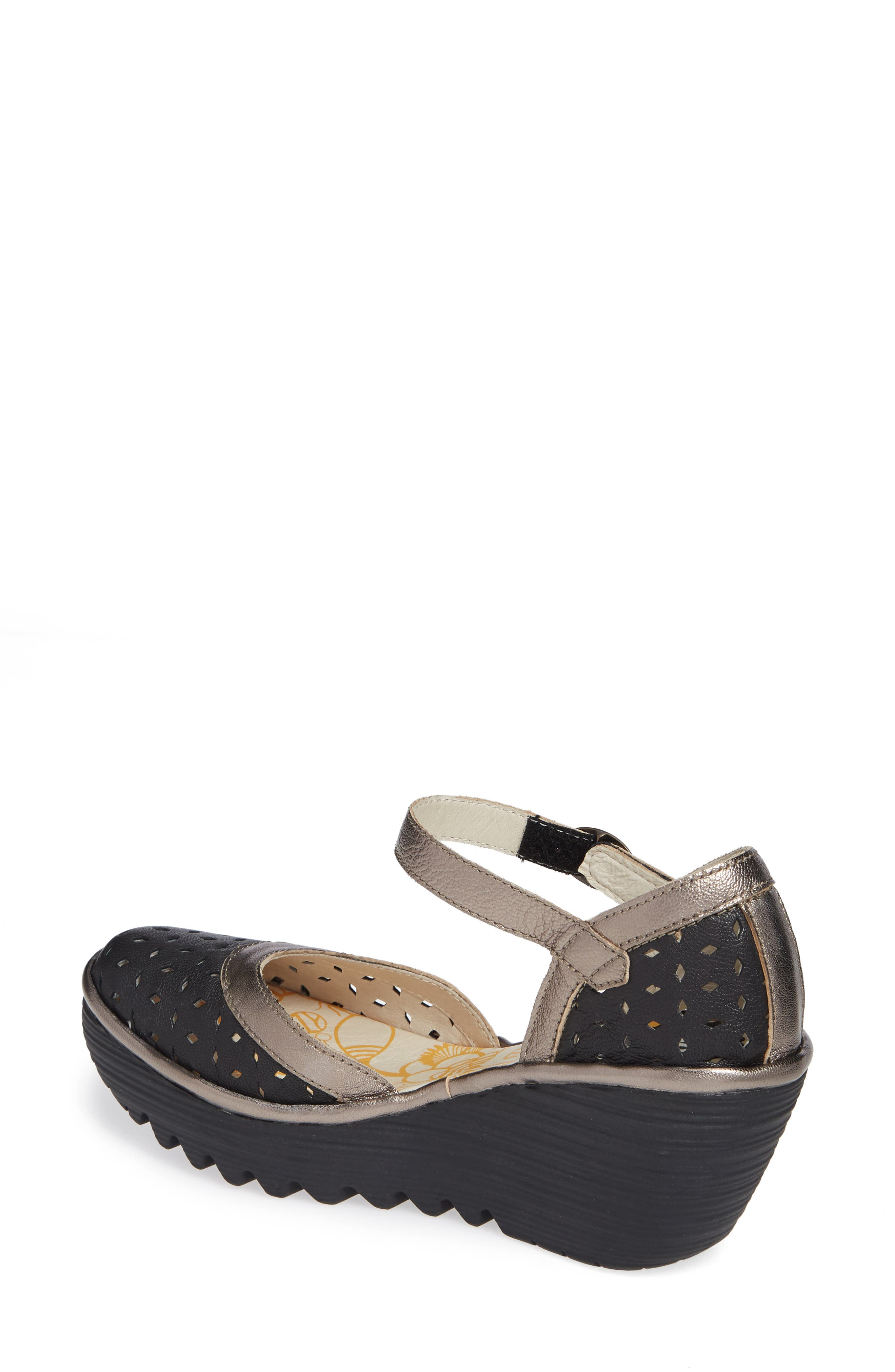 FLY LONDON,                             Yven Wedge,                             Alternate thumbnail 2, color,                             BLACK/ BRONZE LEATHER